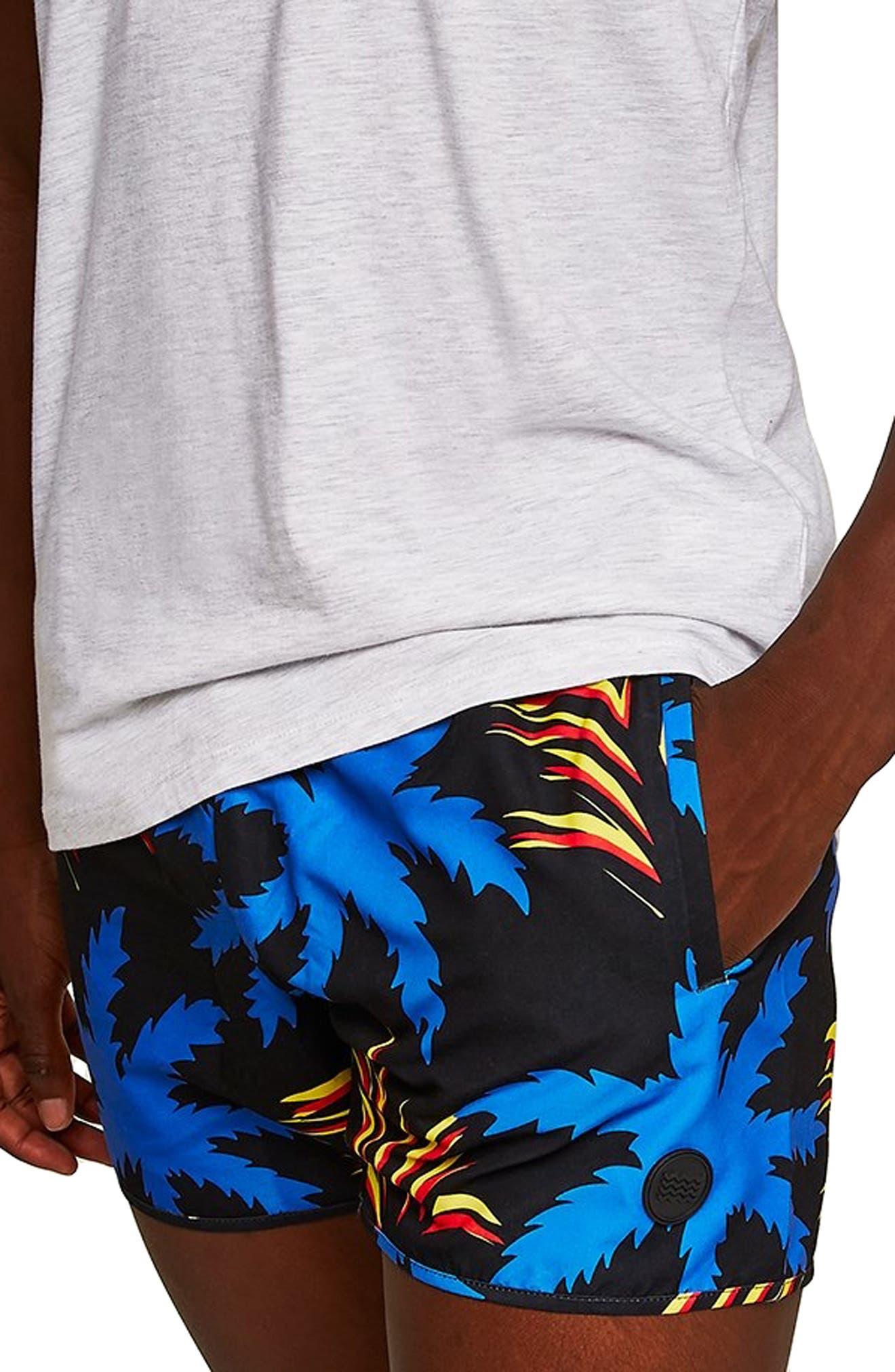 Palm Munday Print Swim Trunks,                             Alternate thumbnail 3, color,                             001