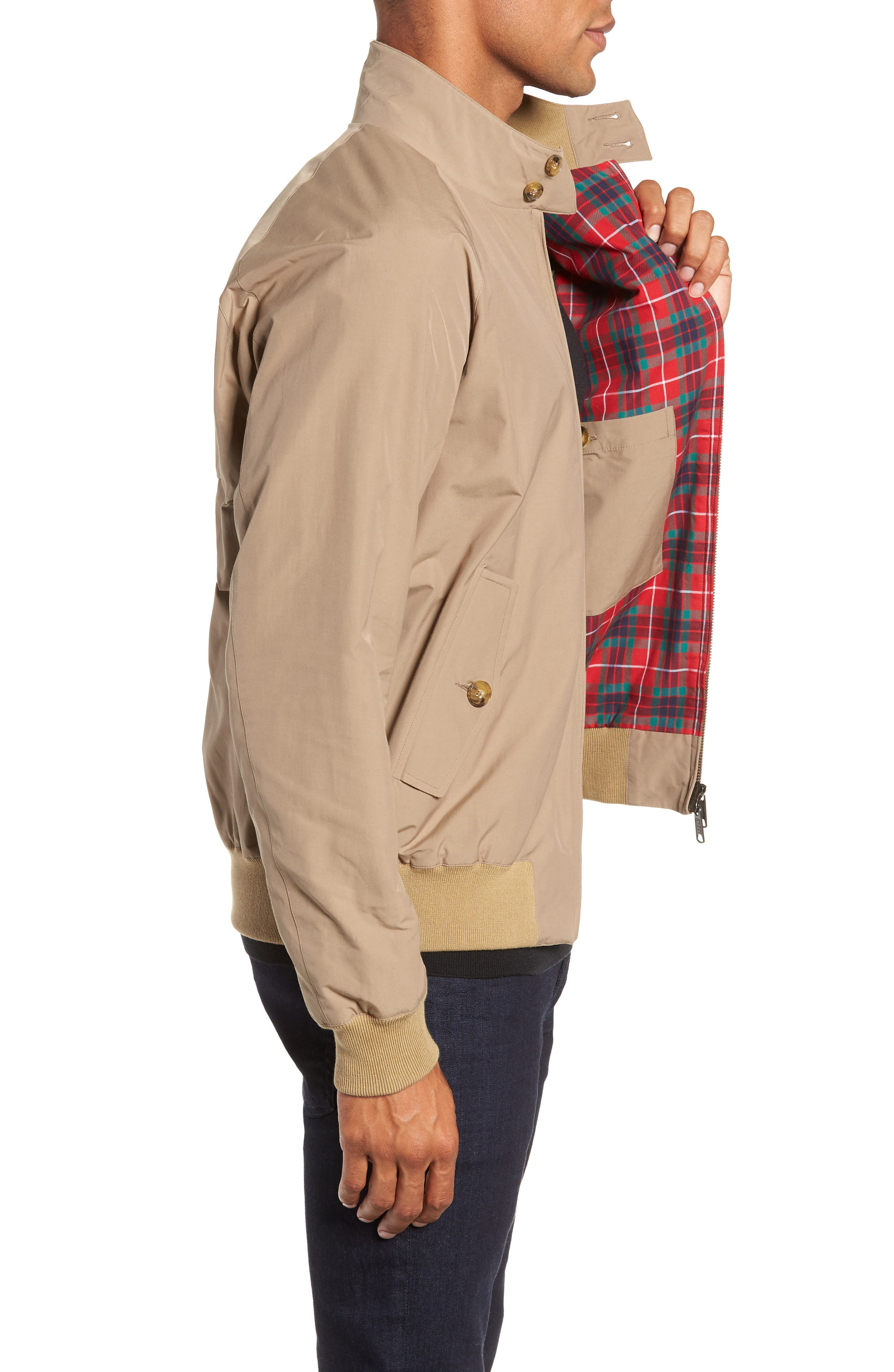 G9 Water Repellent Harrington Jacket,                             Alternate thumbnail 3, color,                             TAN