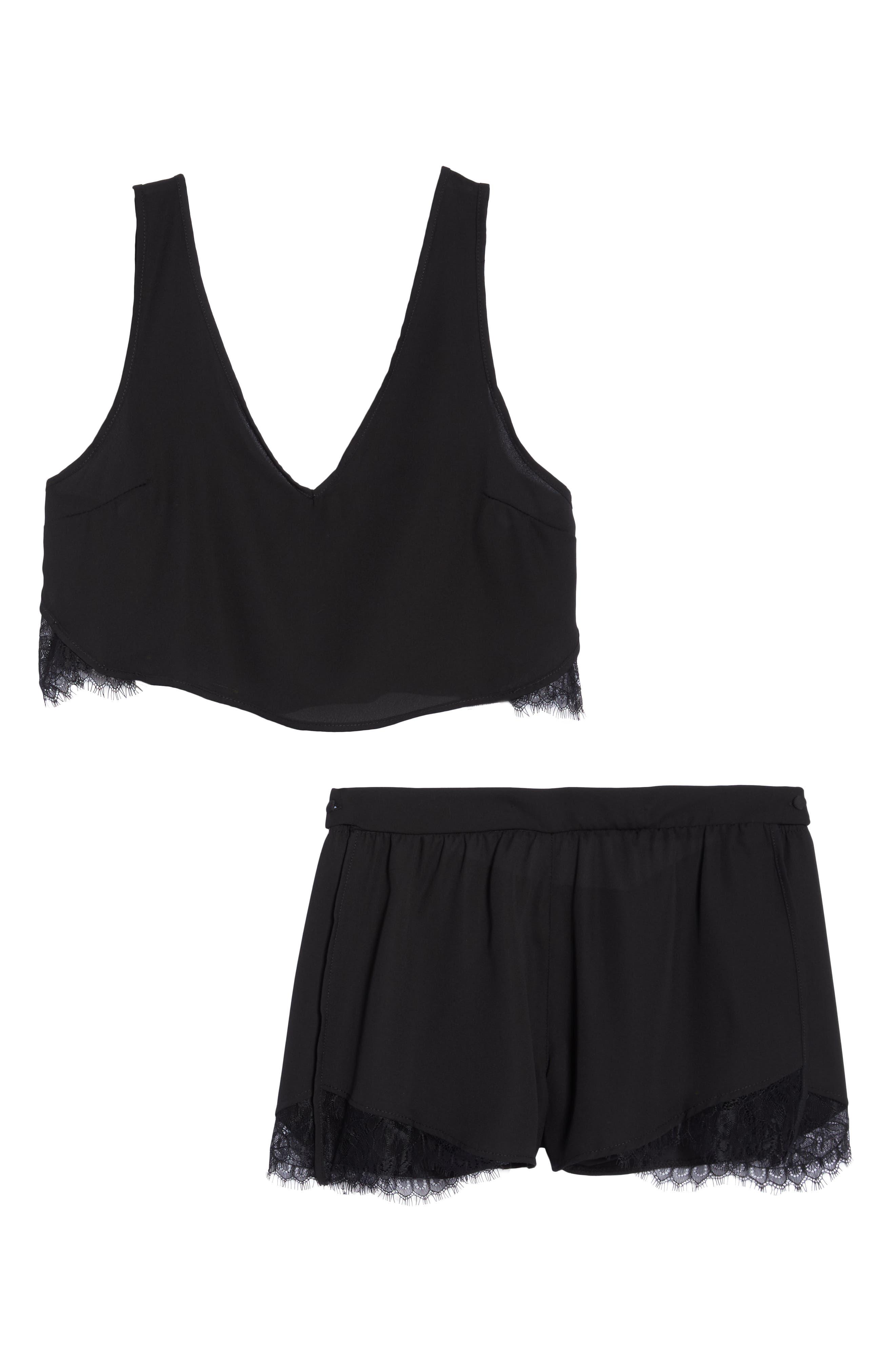 Kamala Short Pajamas,                             Alternate thumbnail 6, color,                             BLACK