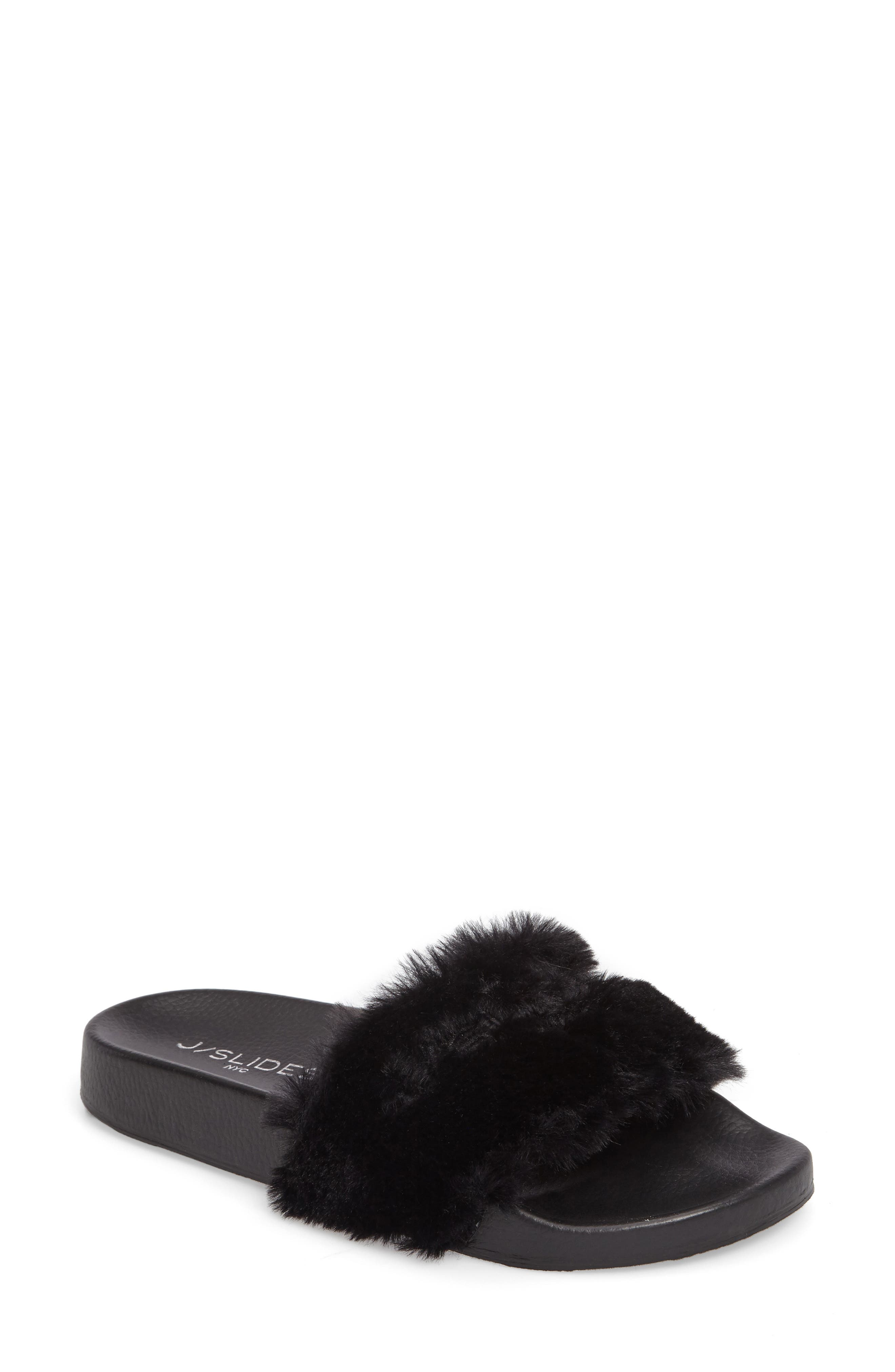 Samantha Faux Fur Slide,                             Main thumbnail 1, color,                             001