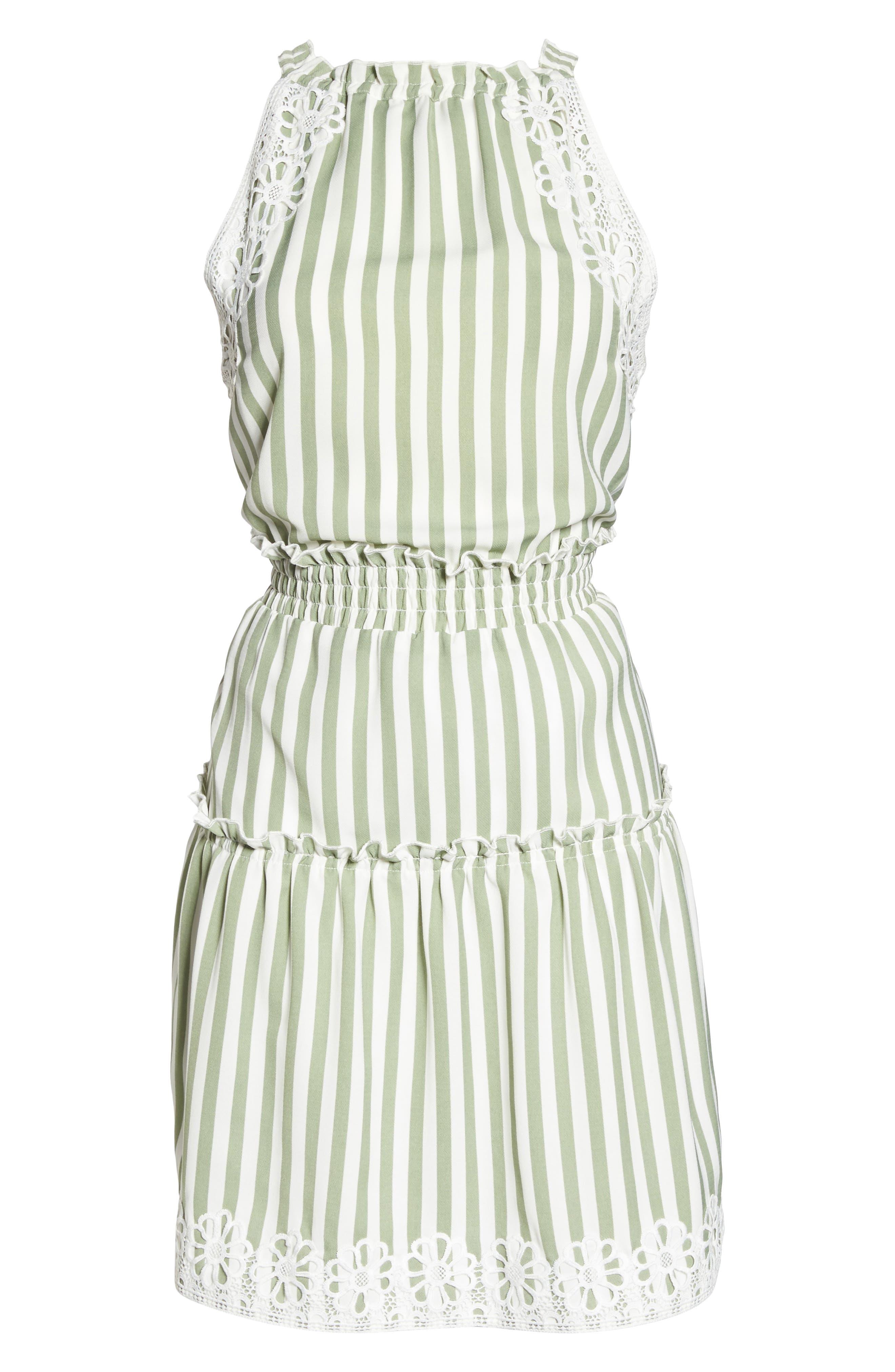 Lauren Stripe Sleeveless Fit & Flare Dress,                             Alternate thumbnail 6, color,                             341