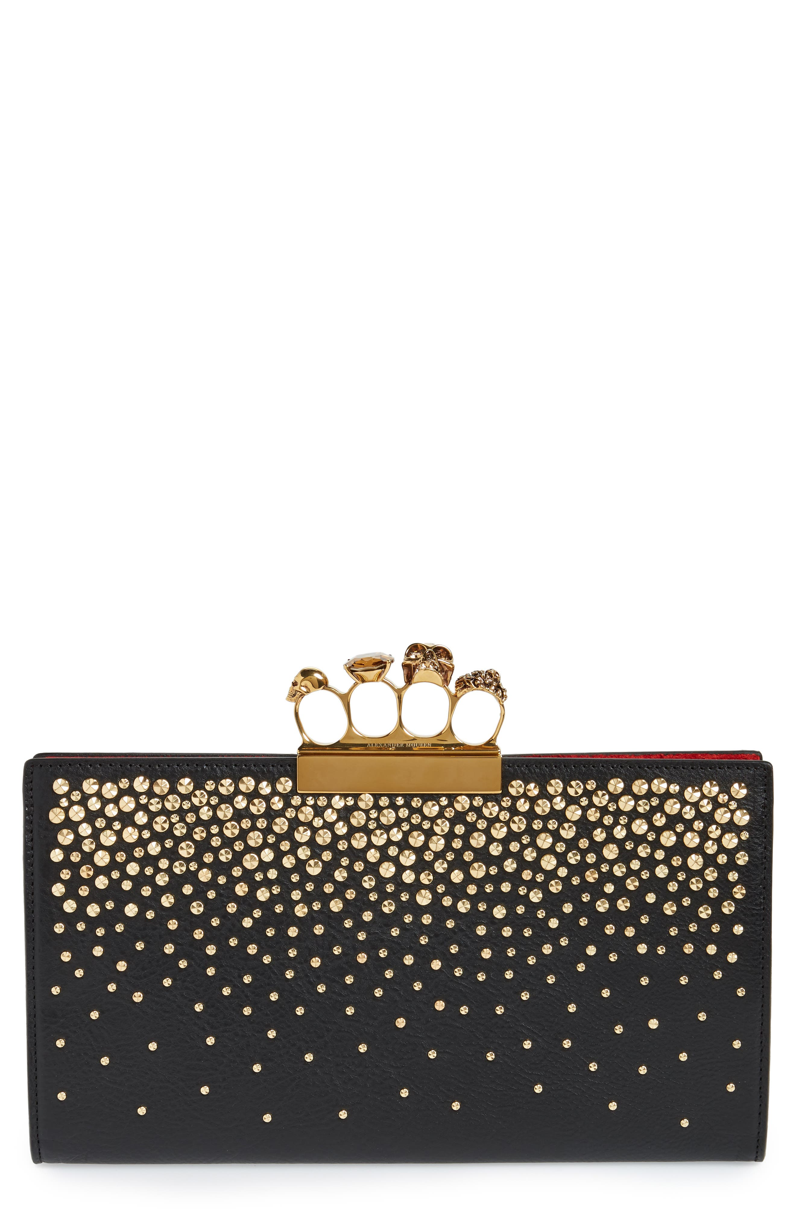 Knuckle Crystal Flat Pouch,                         Main,                         color, BLACK