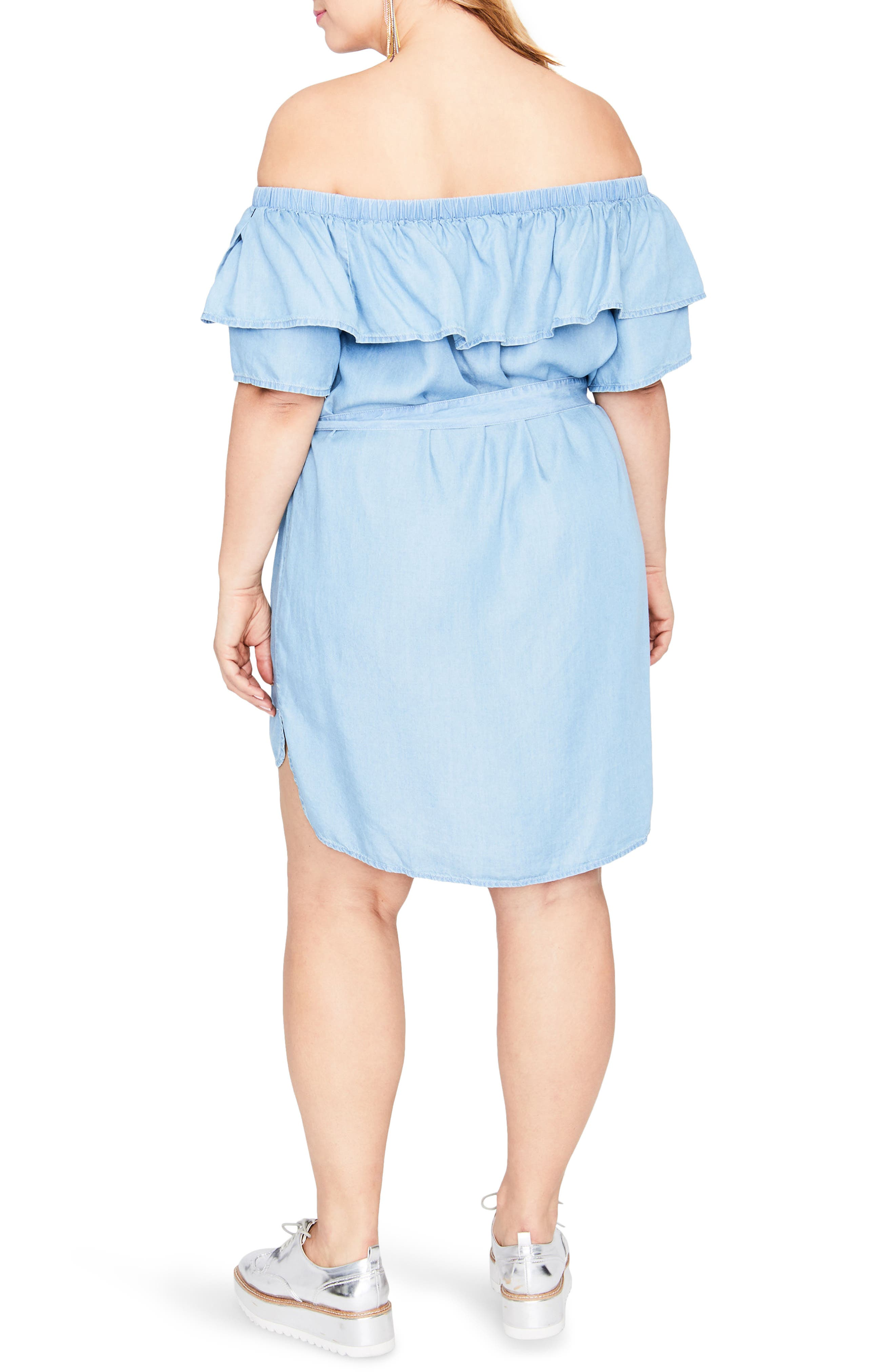 Off the Shoulder Chambray Dress,                             Alternate thumbnail 2, color,                             LIGHT WASH