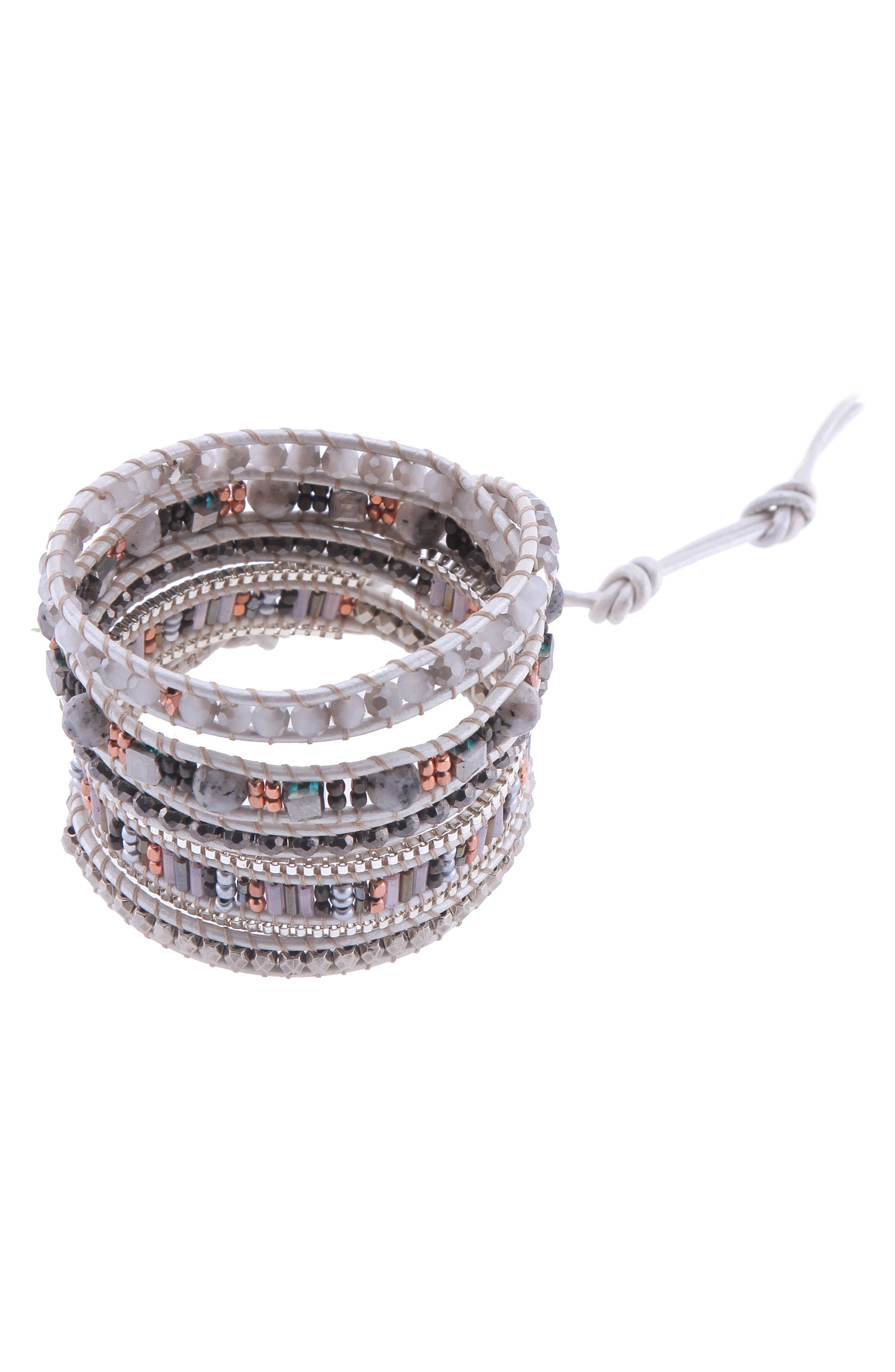 Beaded Wrap Bracelet,                         Main,                         color,