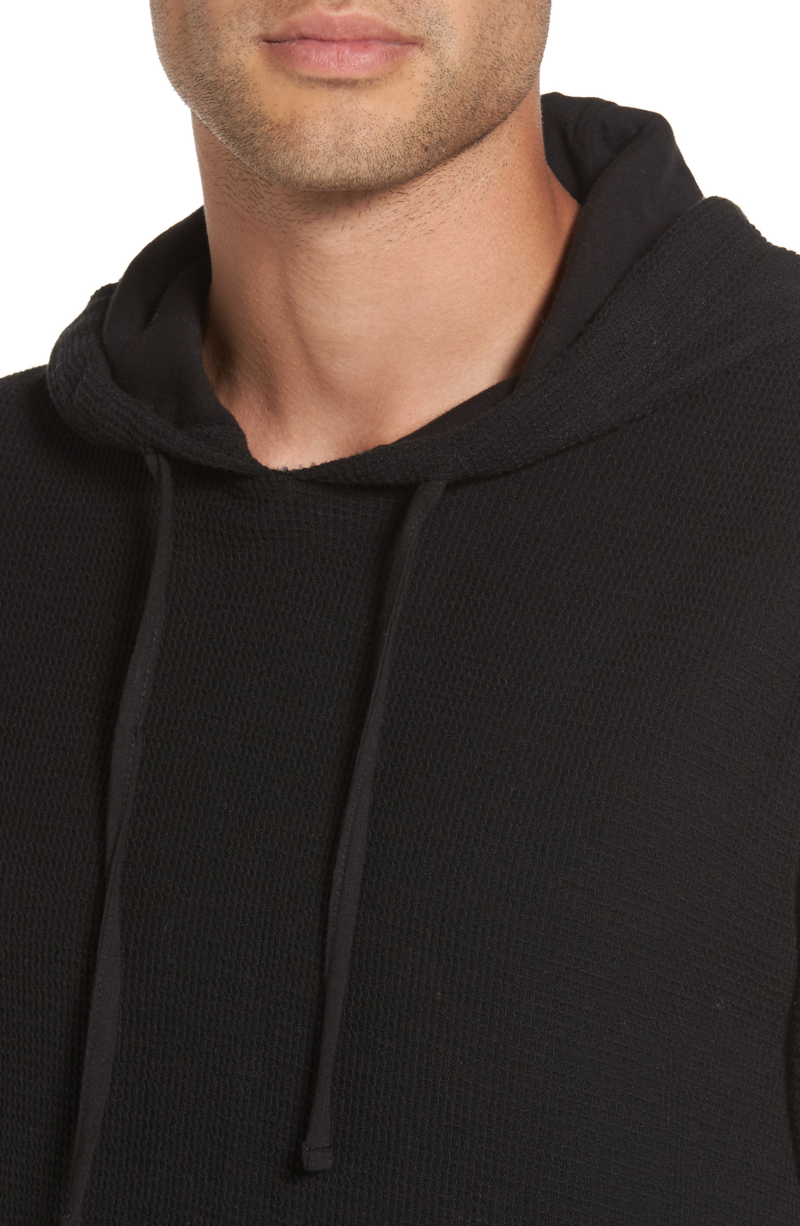 Waffle Knit Pullover Hoodie,                             Alternate thumbnail 4, color,                             001