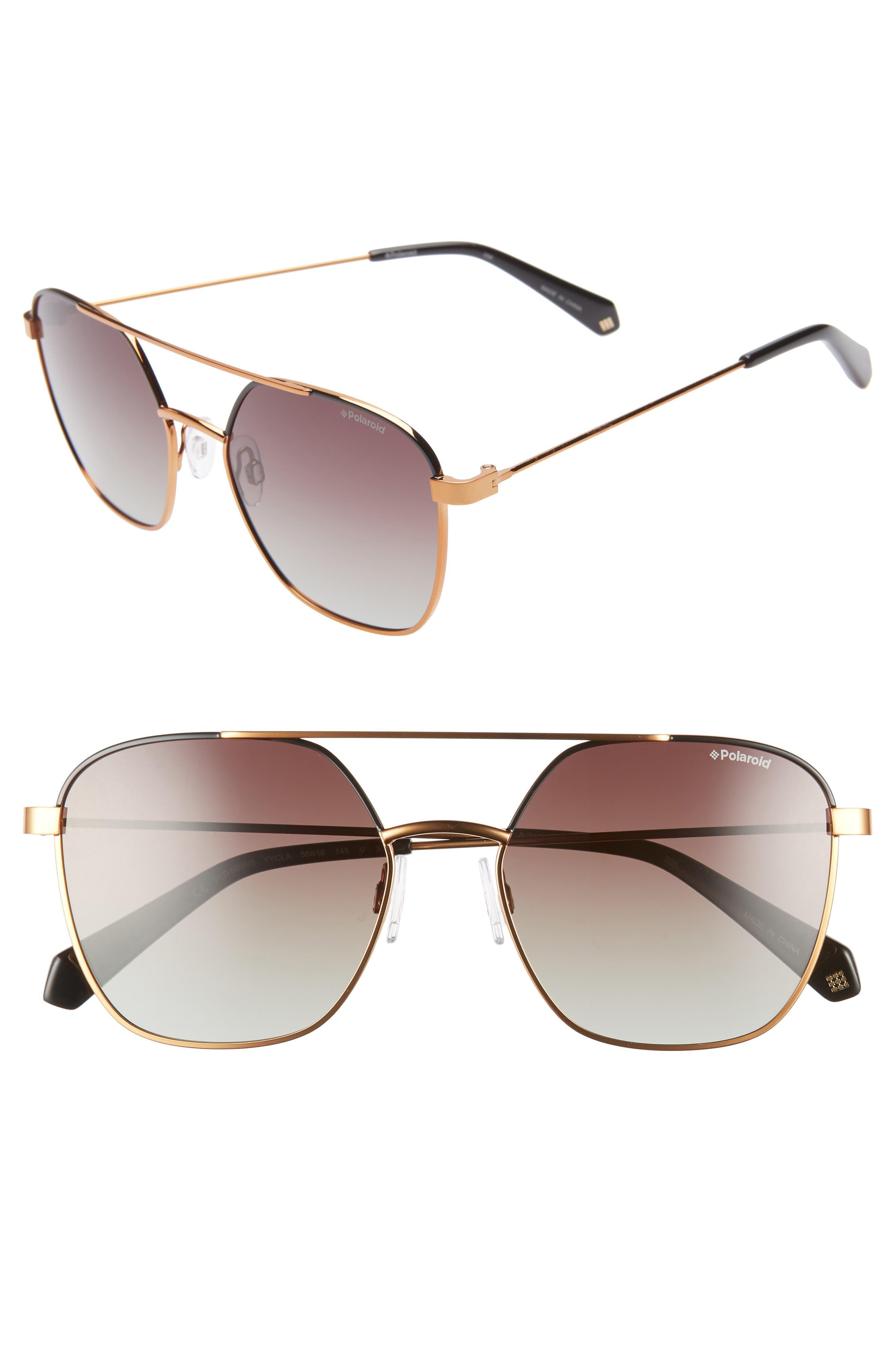 Polaroid 5m Polarized Square Aviator Sunglasses - Black Gold Bronze
