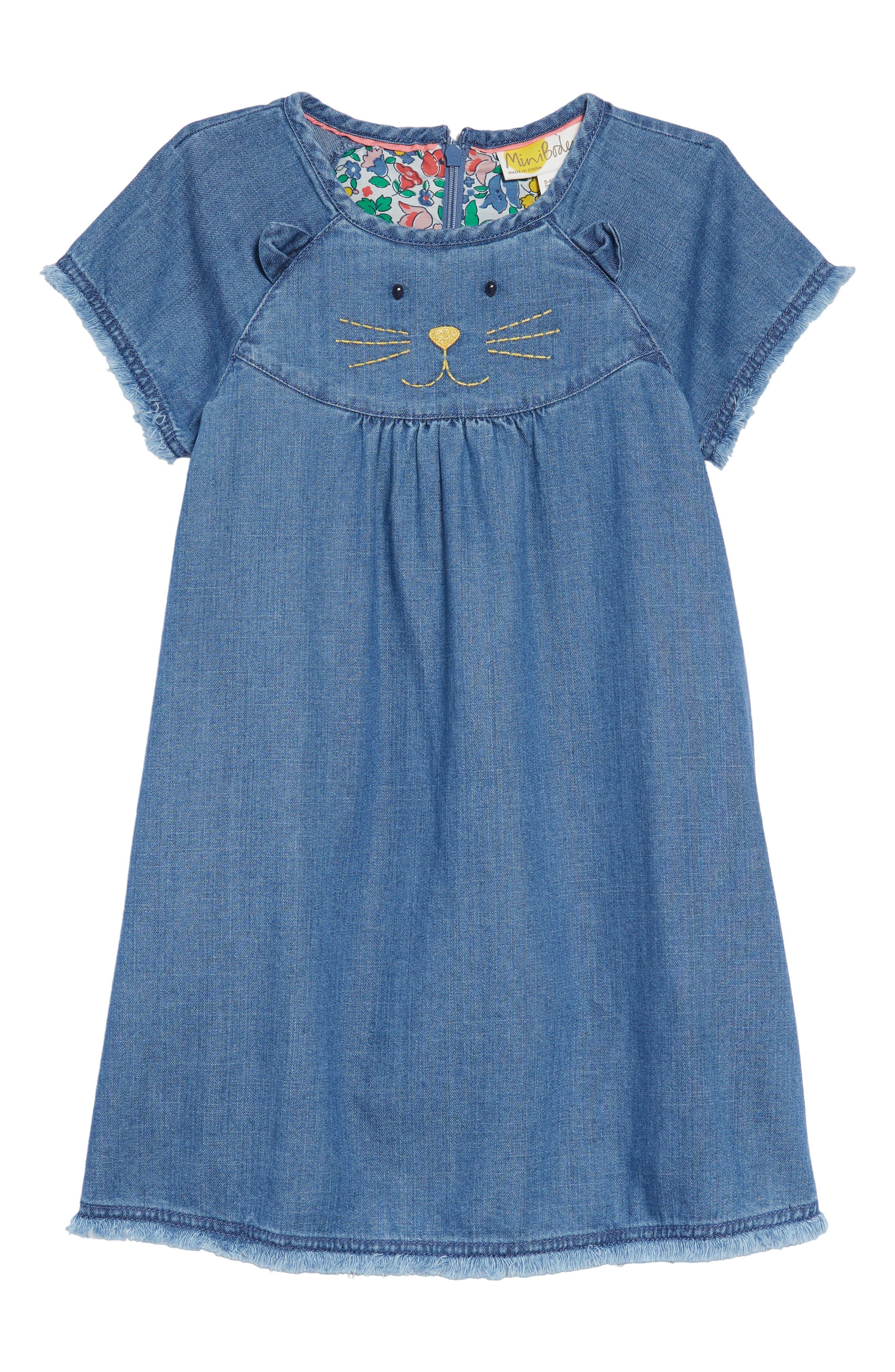 Animal Appliqué Denim Dress,                         Main,                         color, 469