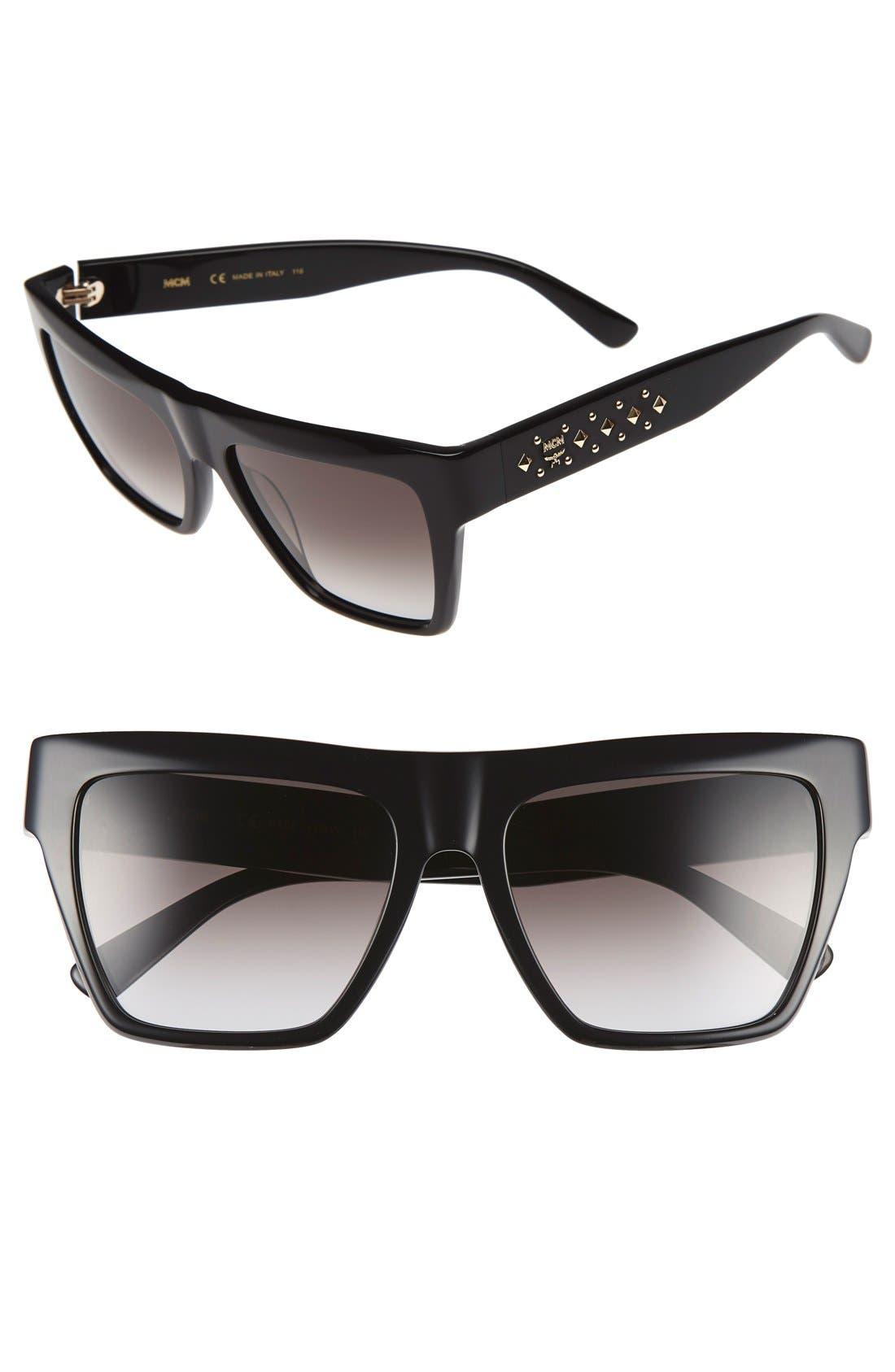 55mm Studded Navigator Sunglasses,                             Main thumbnail 1, color,