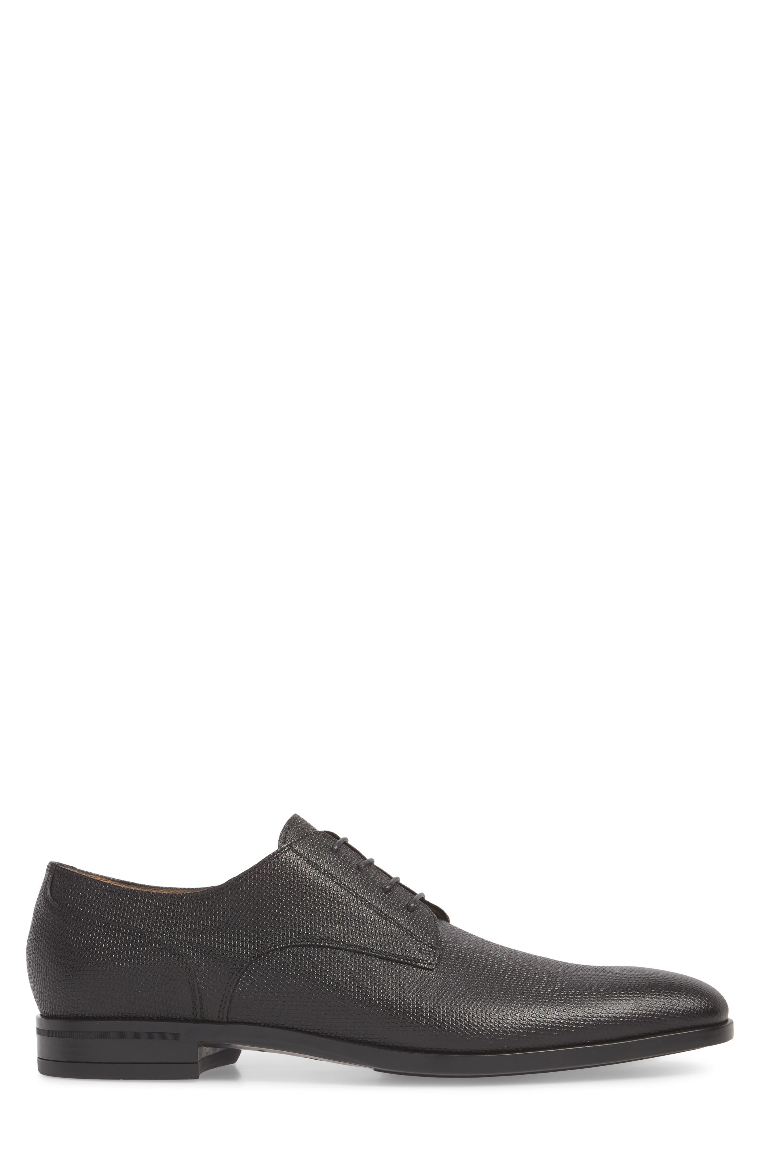 Hugo Boss Portland Embossed Plain Toe Derby,                             Alternate thumbnail 3, color,                             BLACK LEATHER