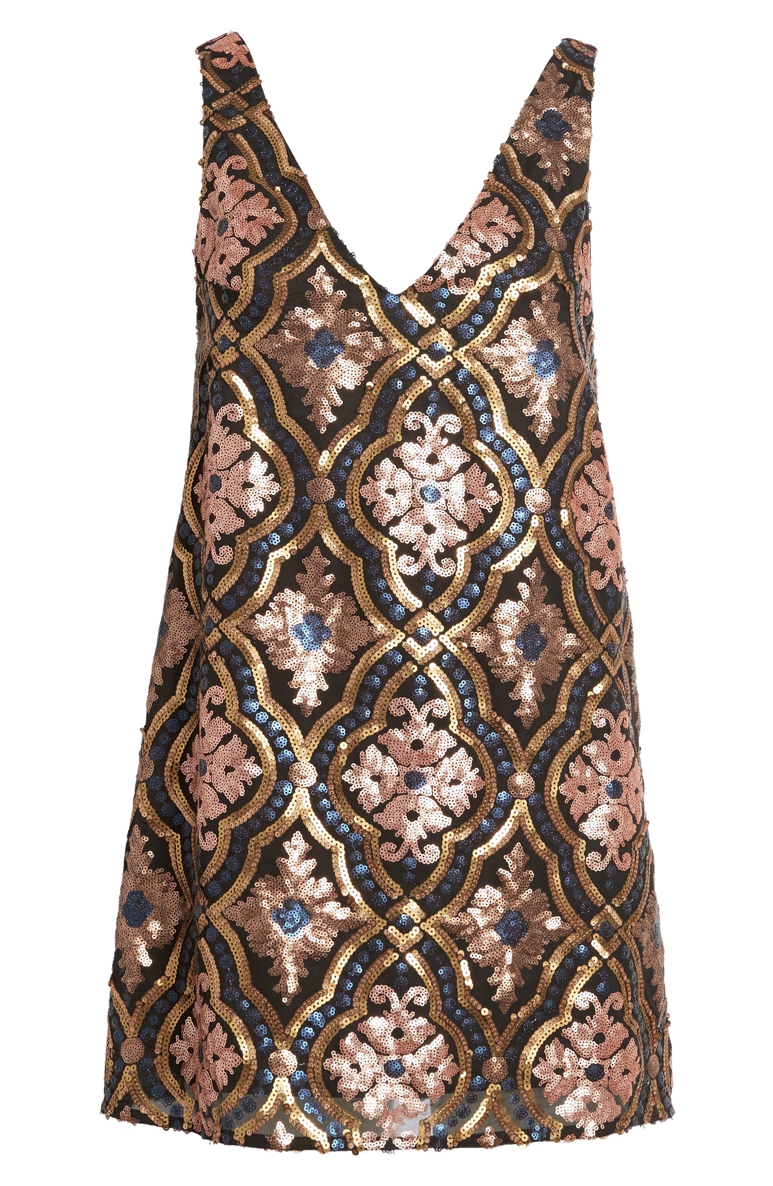Double Dipper Sequin Dress,                             Alternate thumbnail 6, color,                             001