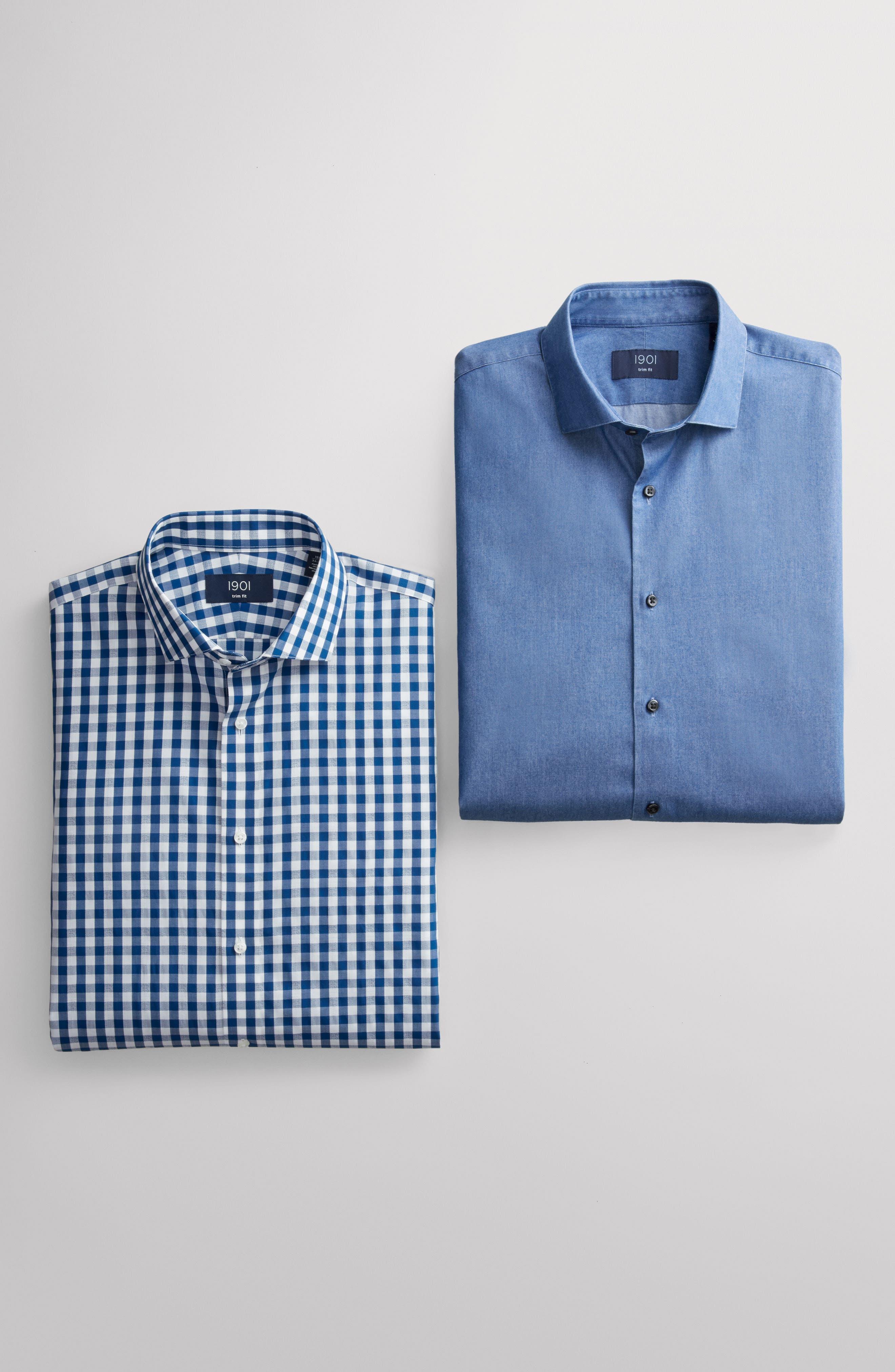 Trim Fit Check Dress Shirt,                             Alternate thumbnail 7, color,                             BLUE CASPIA
