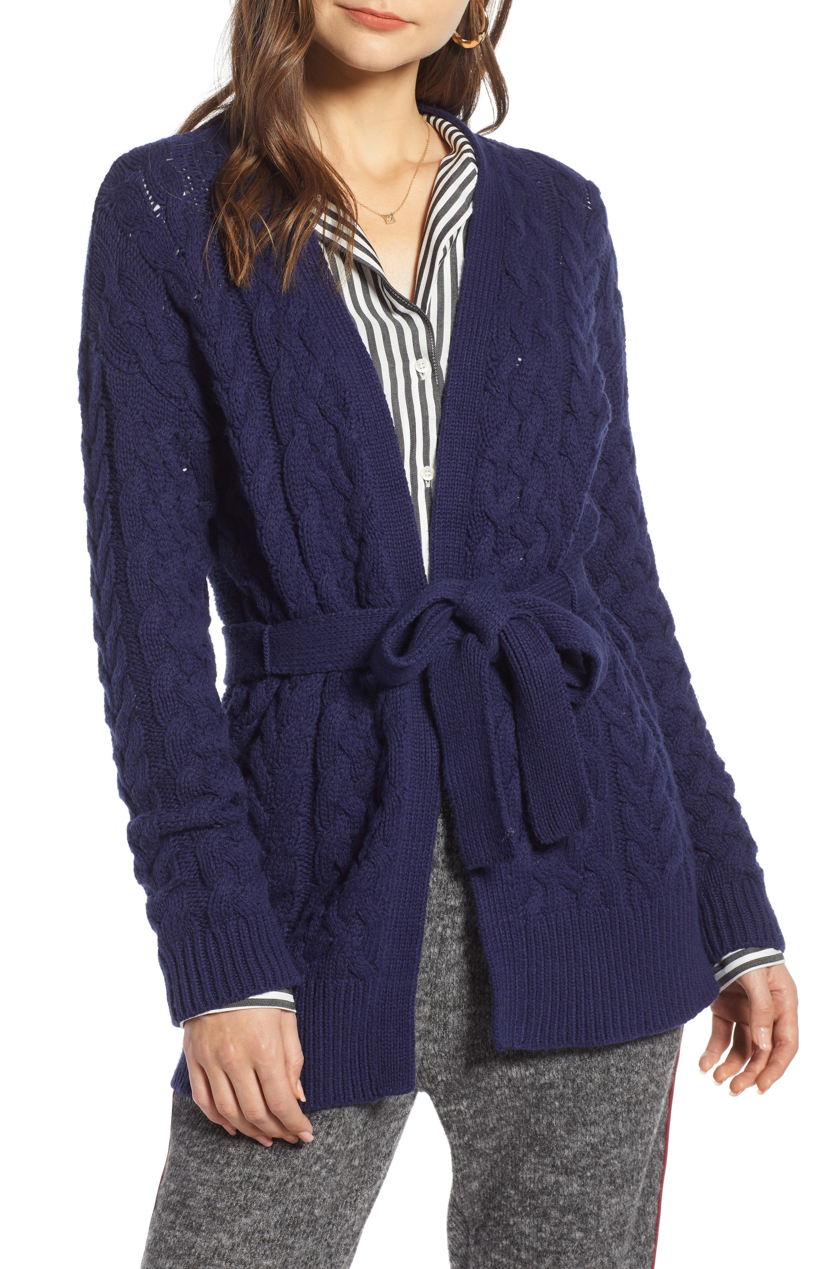 TREASURE & BOND,                             Cable Knit Belted Wrap Cardigan,                             Main thumbnail 1, color,                             NAVY MARITIME