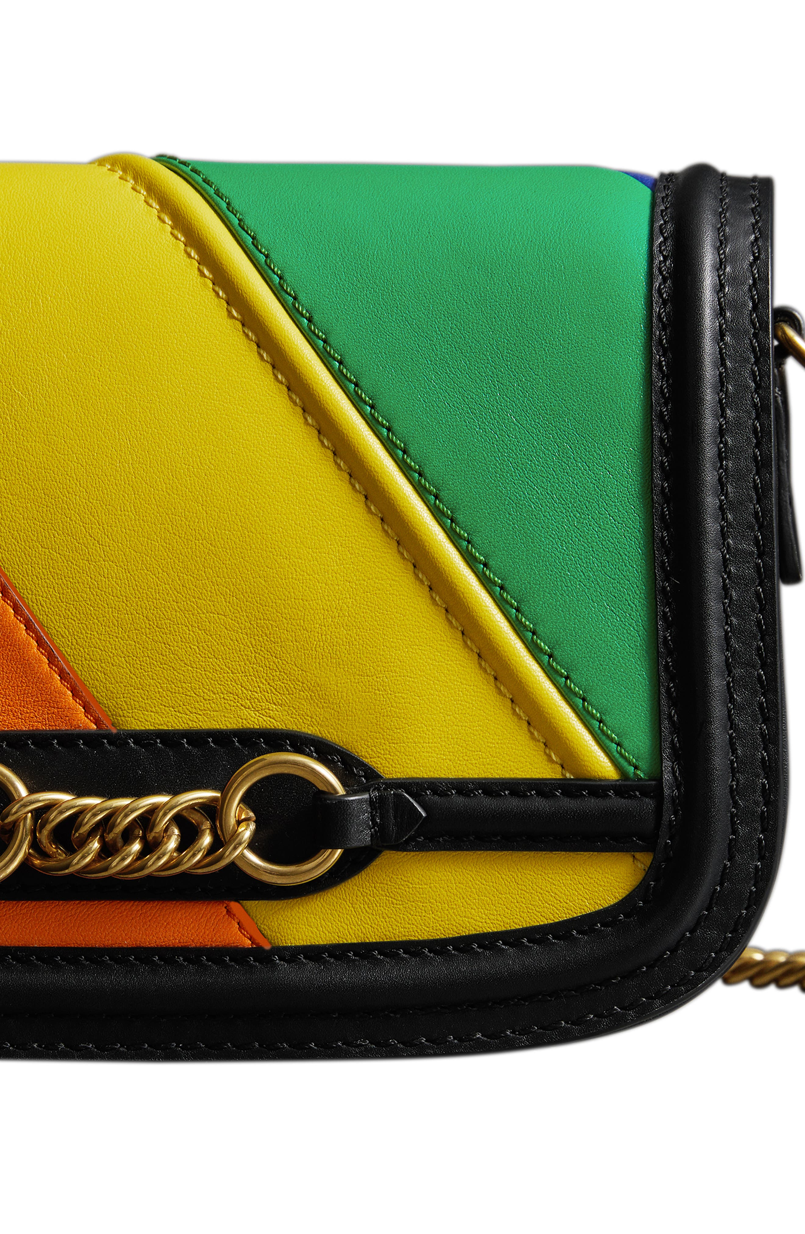 Rainbow Stripe Link Flap Leather Crossbody Bag,                             Alternate thumbnail 5, color,                             001