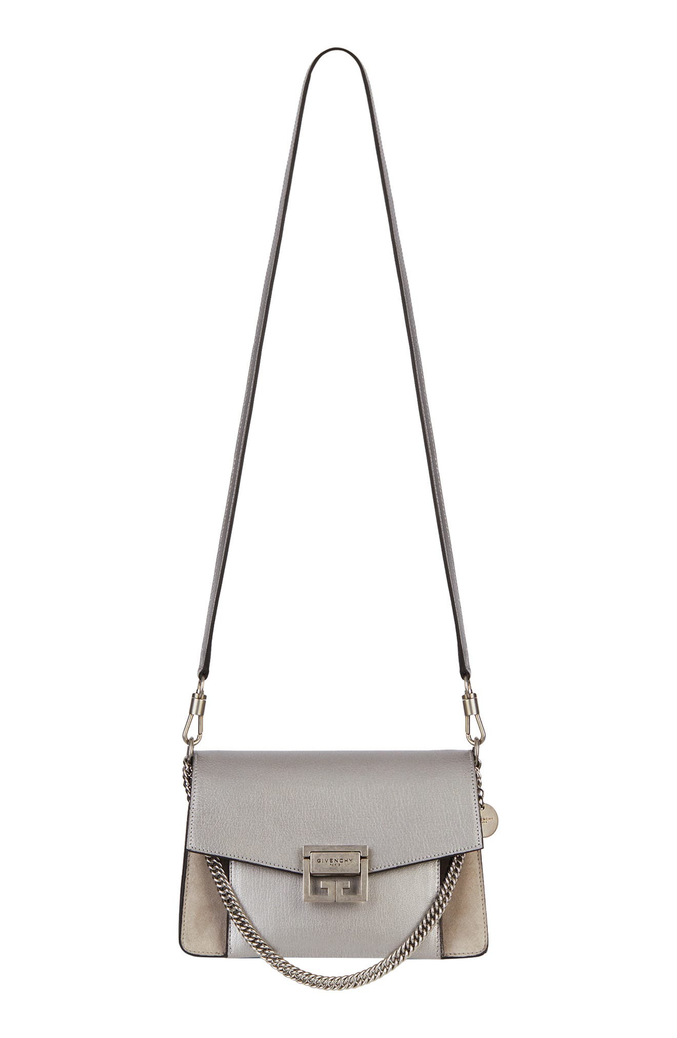GIVENCHY,                             Small GV3 Leather & Suede Crossbody Bag,                             Main thumbnail 1, color,                             SILVER/ NATURAL