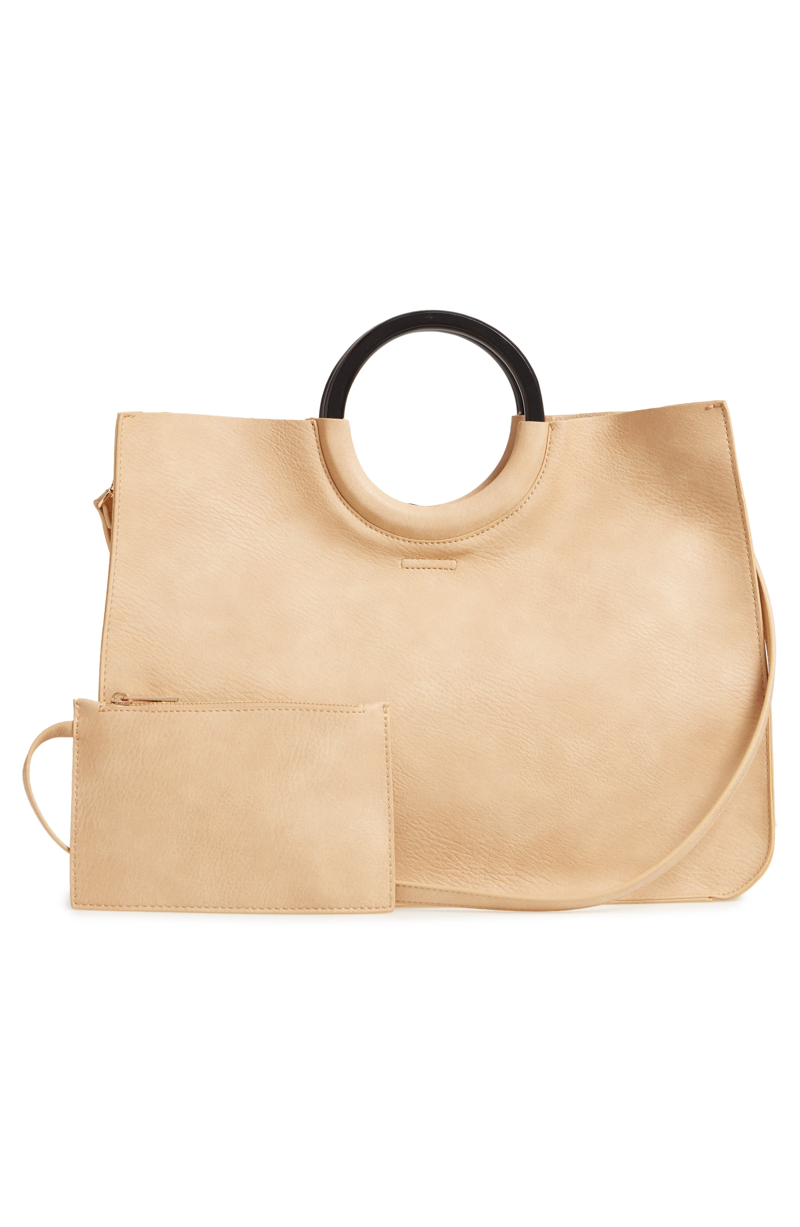 Wood Handle Faux Leather Tote,                             Alternate thumbnail 3, color,                             NATURAL