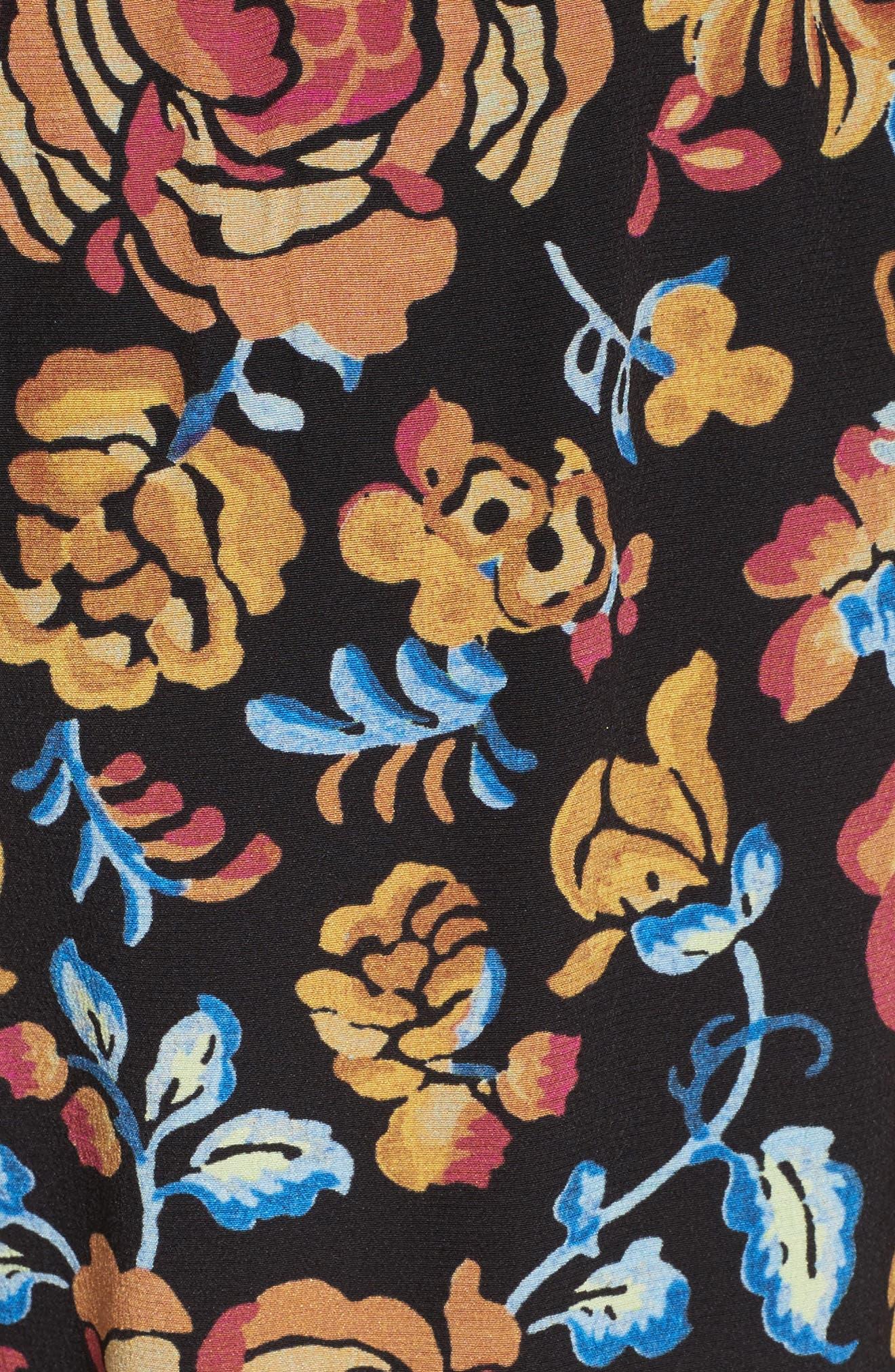 Floral Print Silk Pants,                             Alternate thumbnail 5, color,                             001