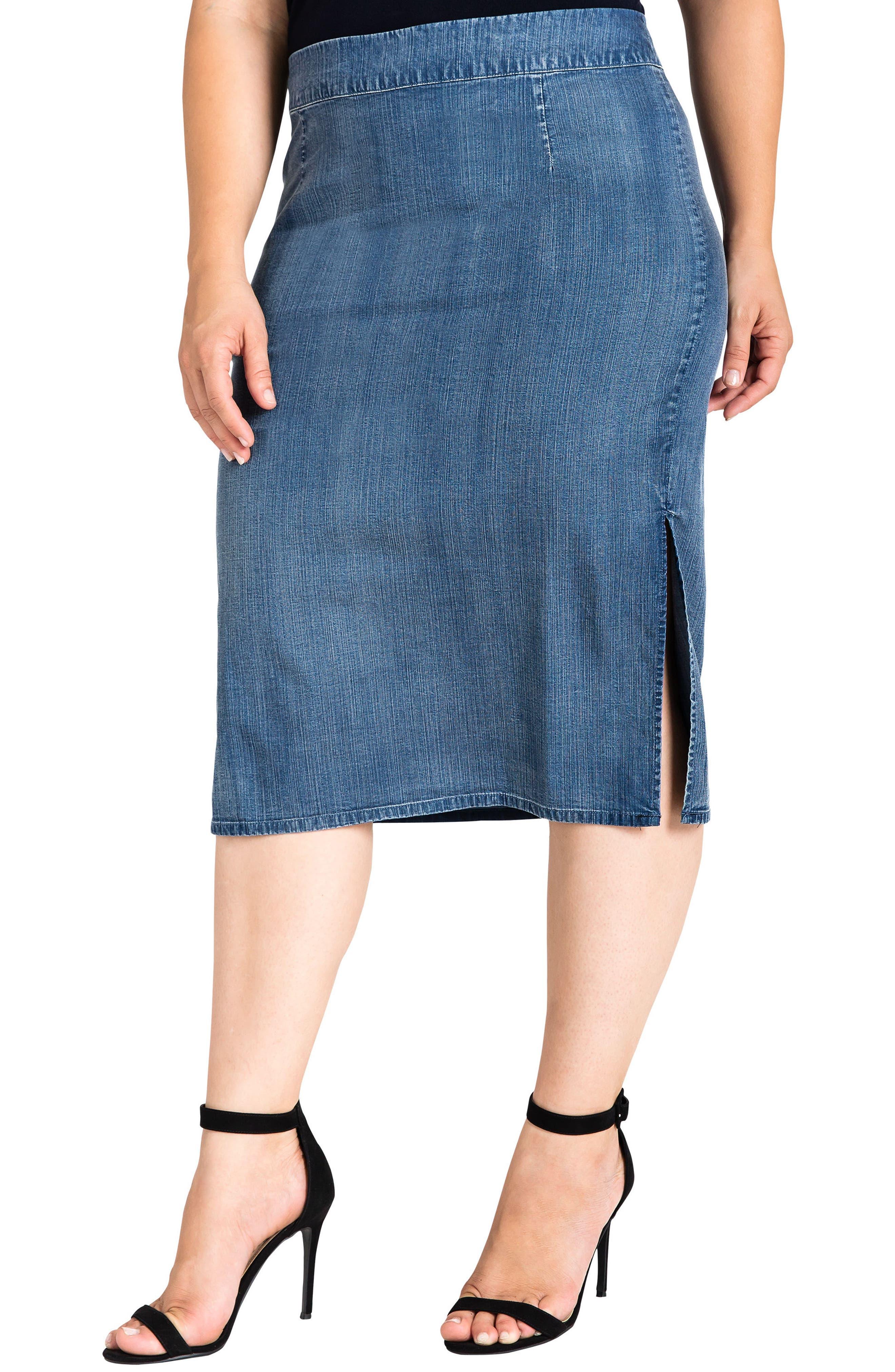 Jade Side Slit Pencil Skirt,                             Main thumbnail 1, color,                             DARK BLUE