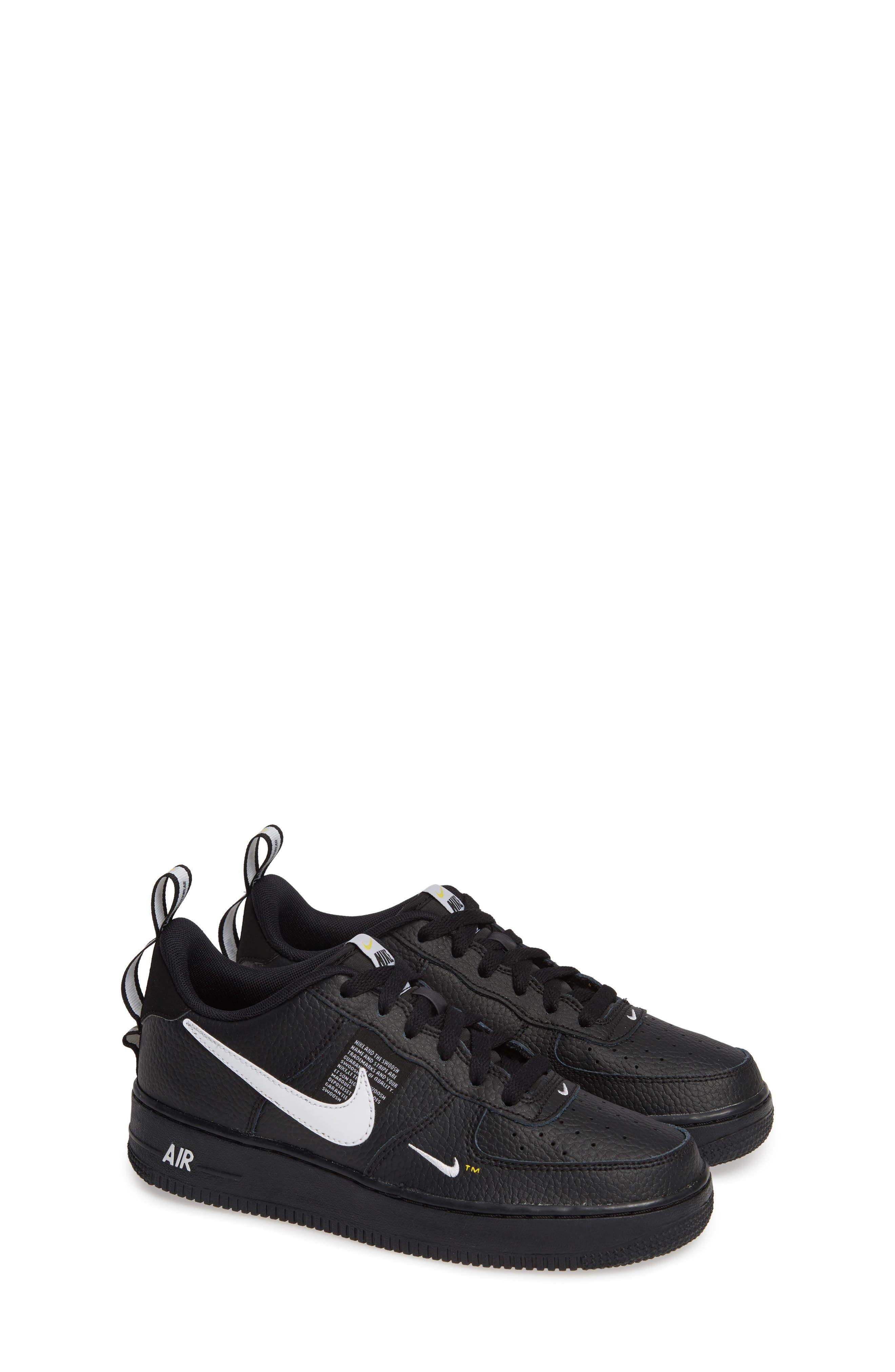 NIKE,                             Air Force 1 LV8 Sneaker,                             Alternate thumbnail 2, color,                             BLACK/ WHITE-BLACK-TOUR YELLOW
