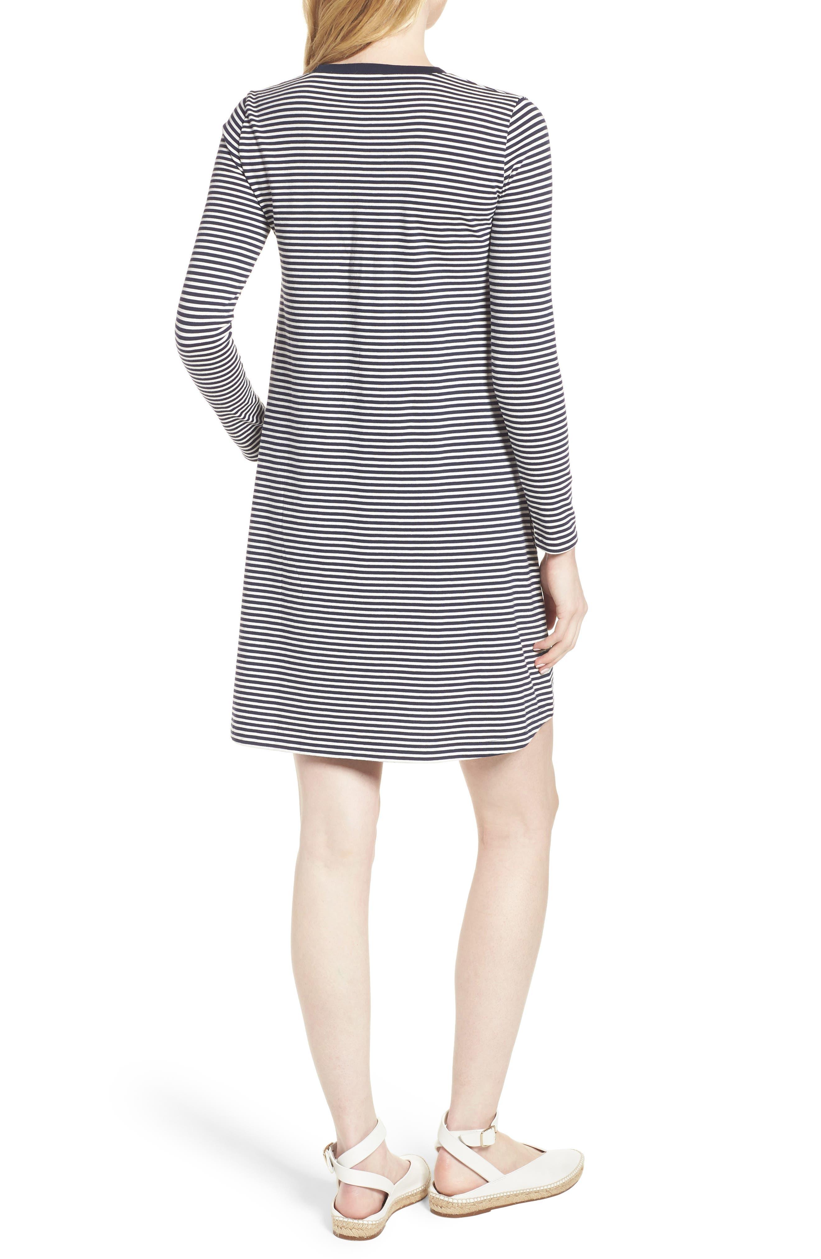 Easy Pocket Cotton Knit Stripe Dress,                             Alternate thumbnail 2, color,