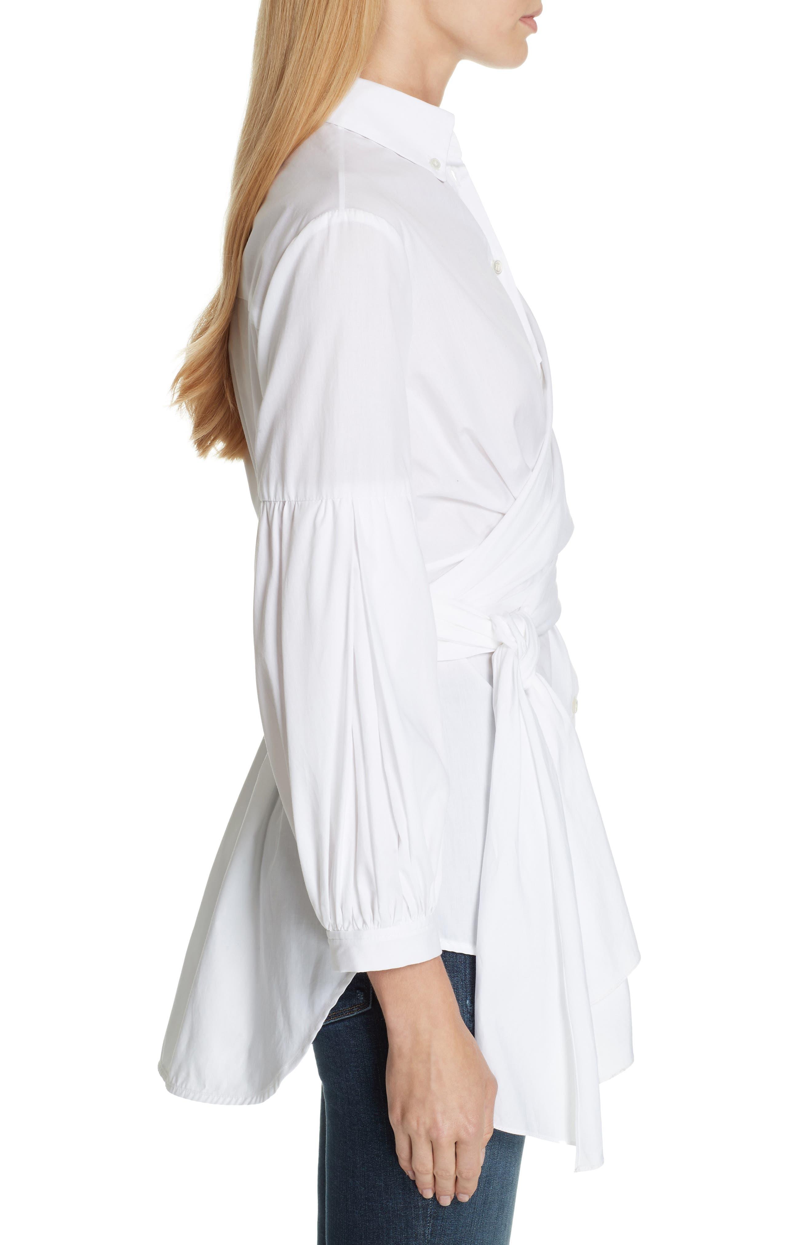 Sinclair Puff Sleeve Wrap Detail Shirt,                             Alternate thumbnail 3, color,                             WHITE