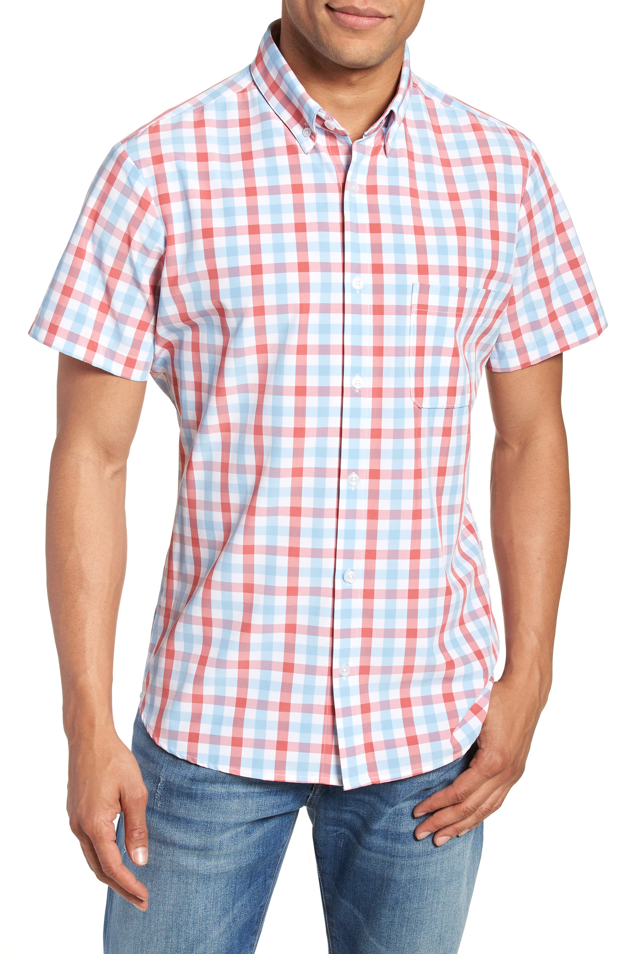 Revere Slim Fit Tattersall Performance Sport Shirt,                         Main,                         color, RED