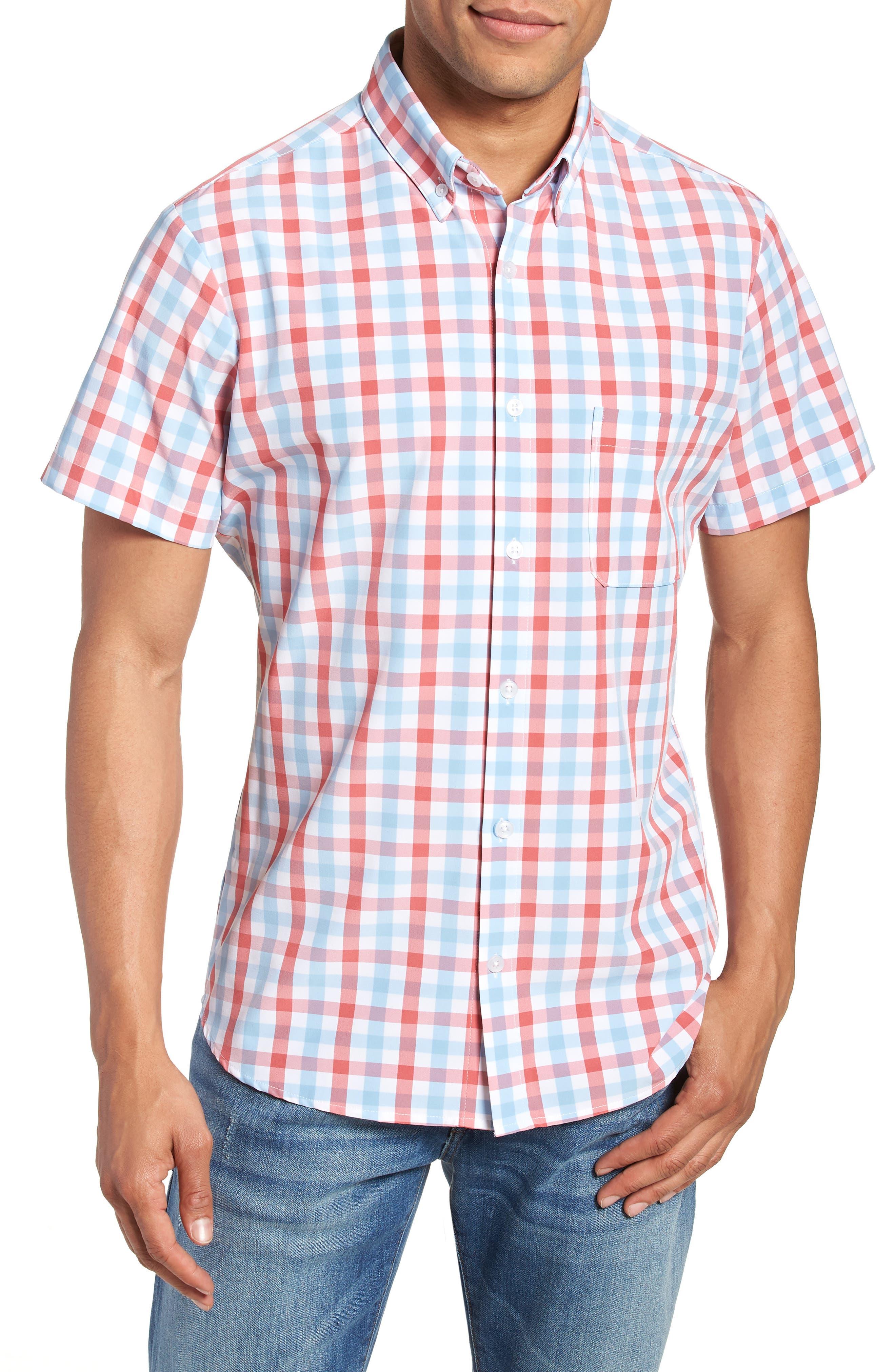 MIZZEN+MAIN Revere Slim Fit Tattersall Performance Sport Shirt, Main, color, 649