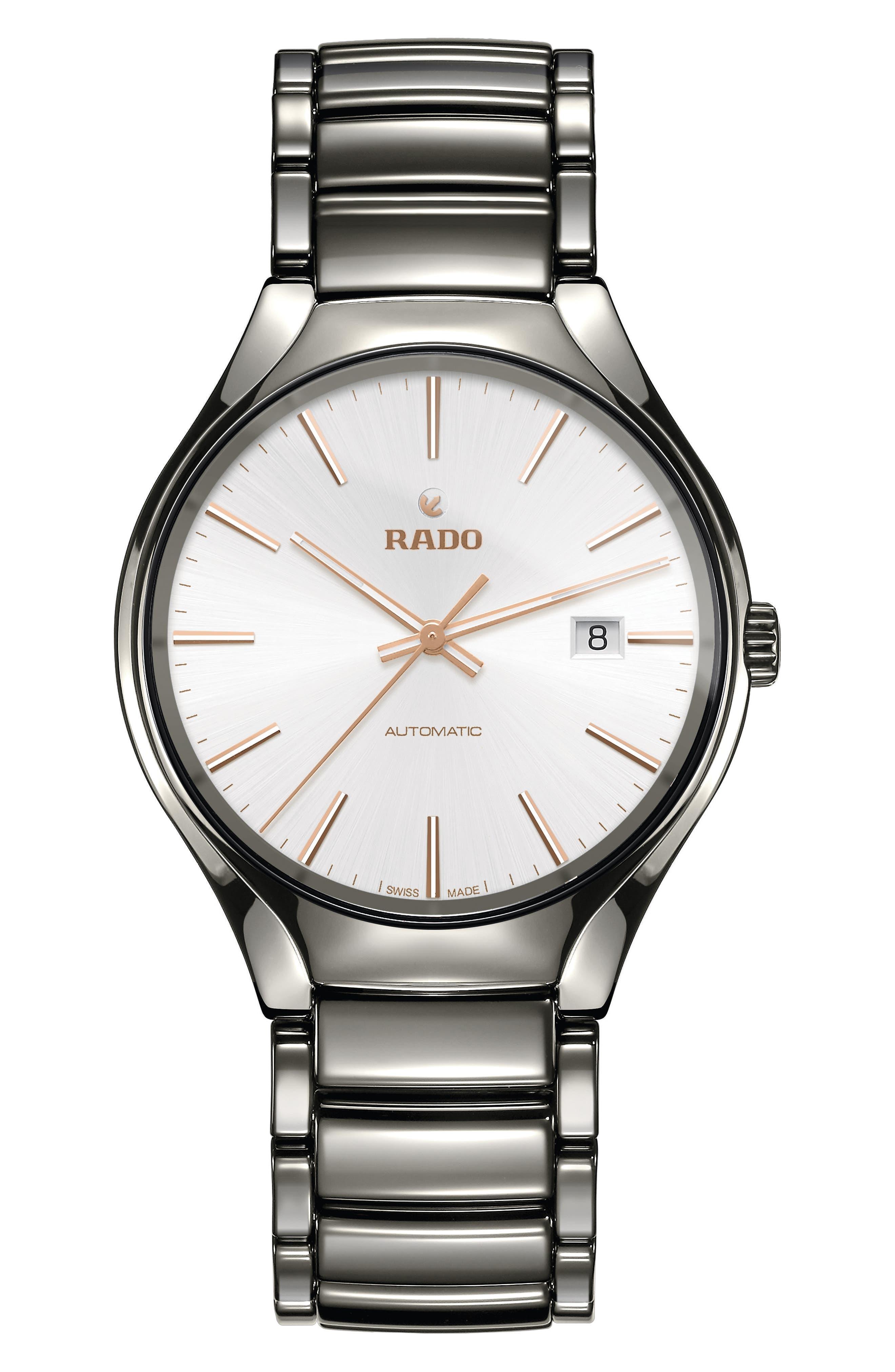 True Automatic Ceramic Bracelet Watch, 40mm,                             Main thumbnail 1, color,                             PLASMA/ WHITE/ PLASMA