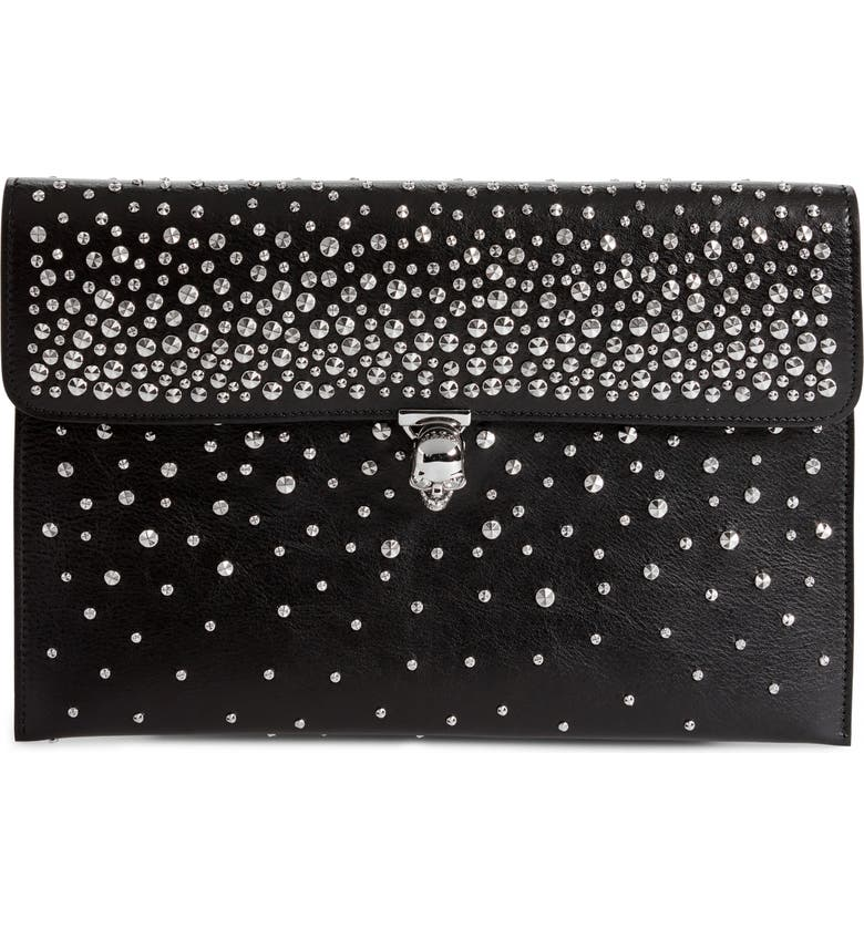 e9bce62771 Alexander McQueen Studded Skull Closure Leather Envelope Clutch ...