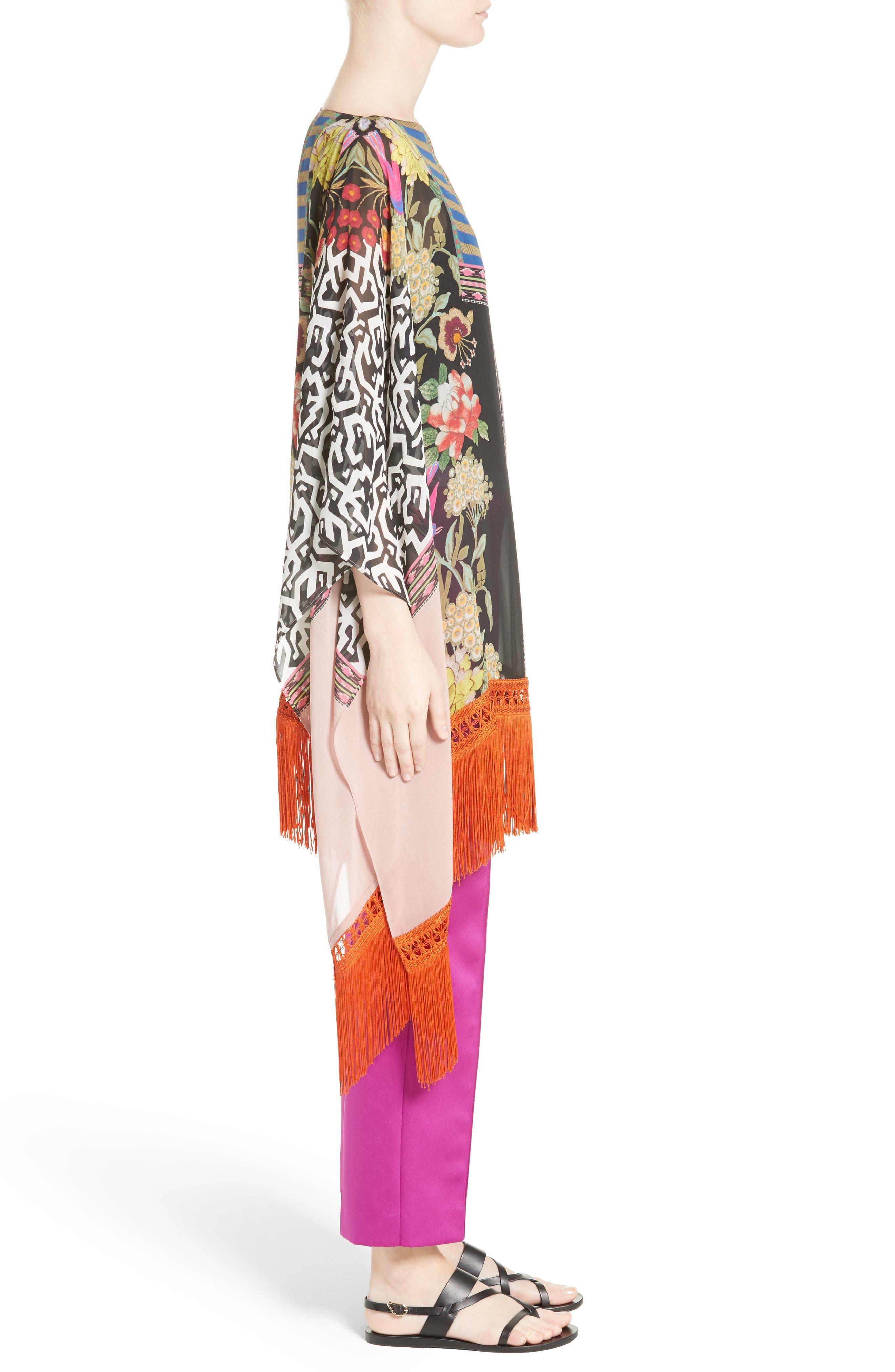 Fringe Trim Floral Print Silk Poncho,                             Alternate thumbnail 3, color,