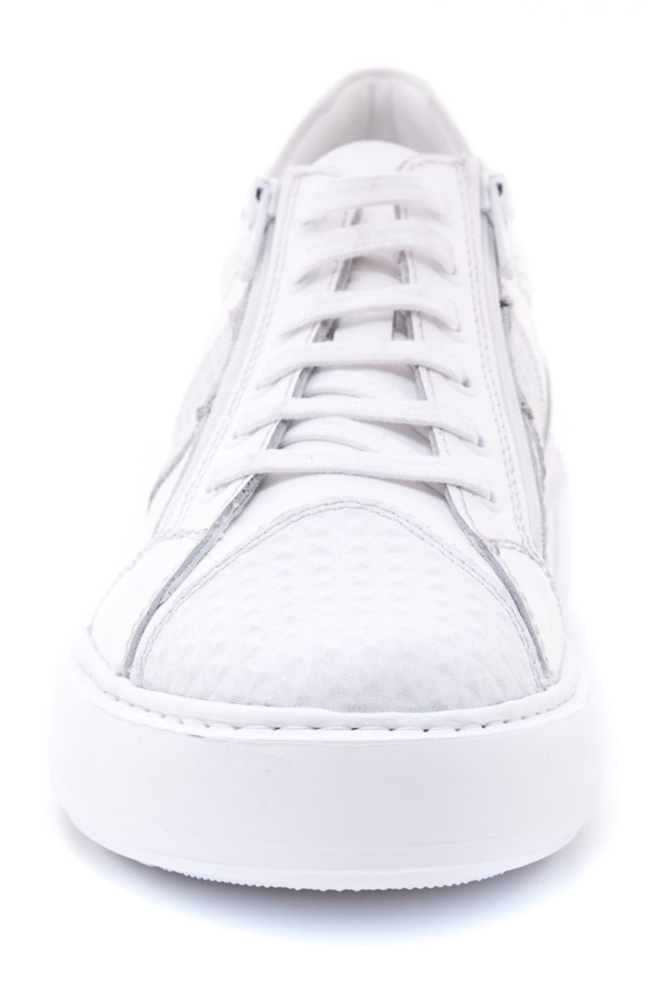 Justin Perforated Sneaker,                             Alternate thumbnail 4, color,                             WHITE