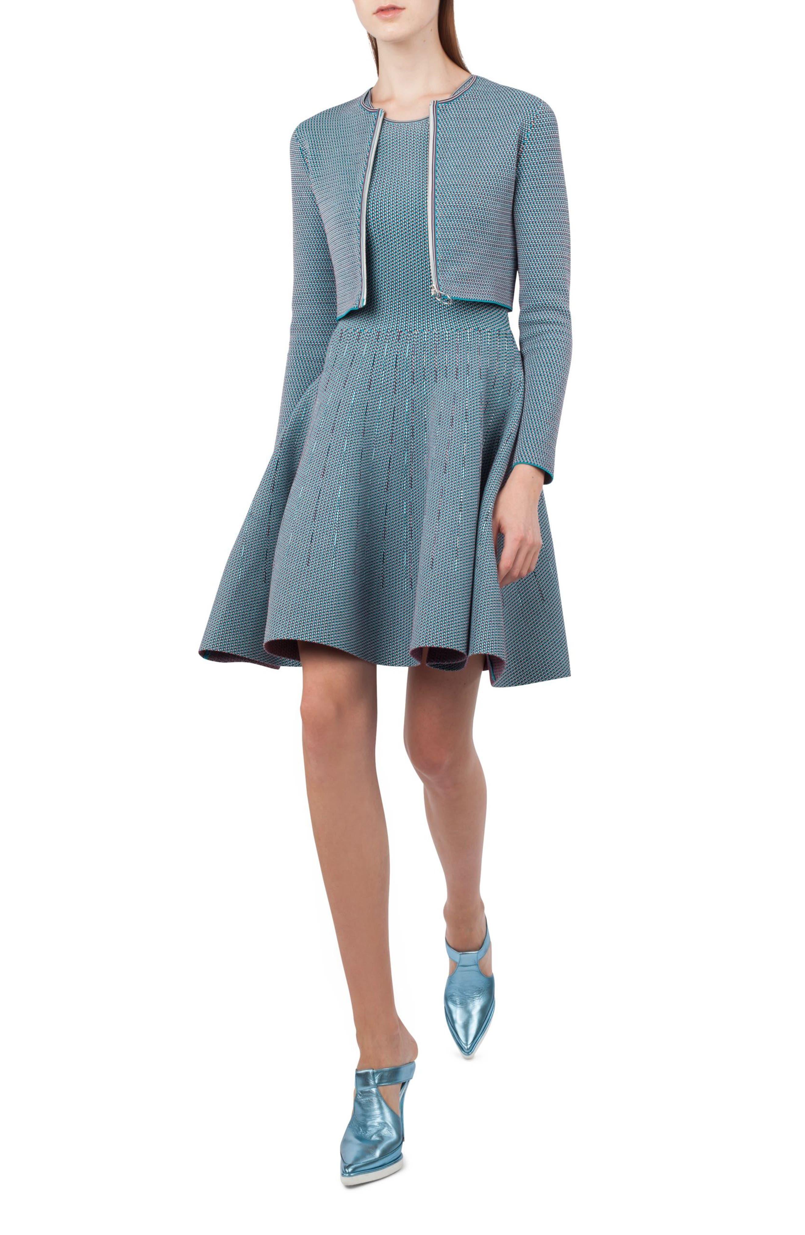 Fantasy Jacquard Knit Dress,                             Alternate thumbnail 3, color,                             471