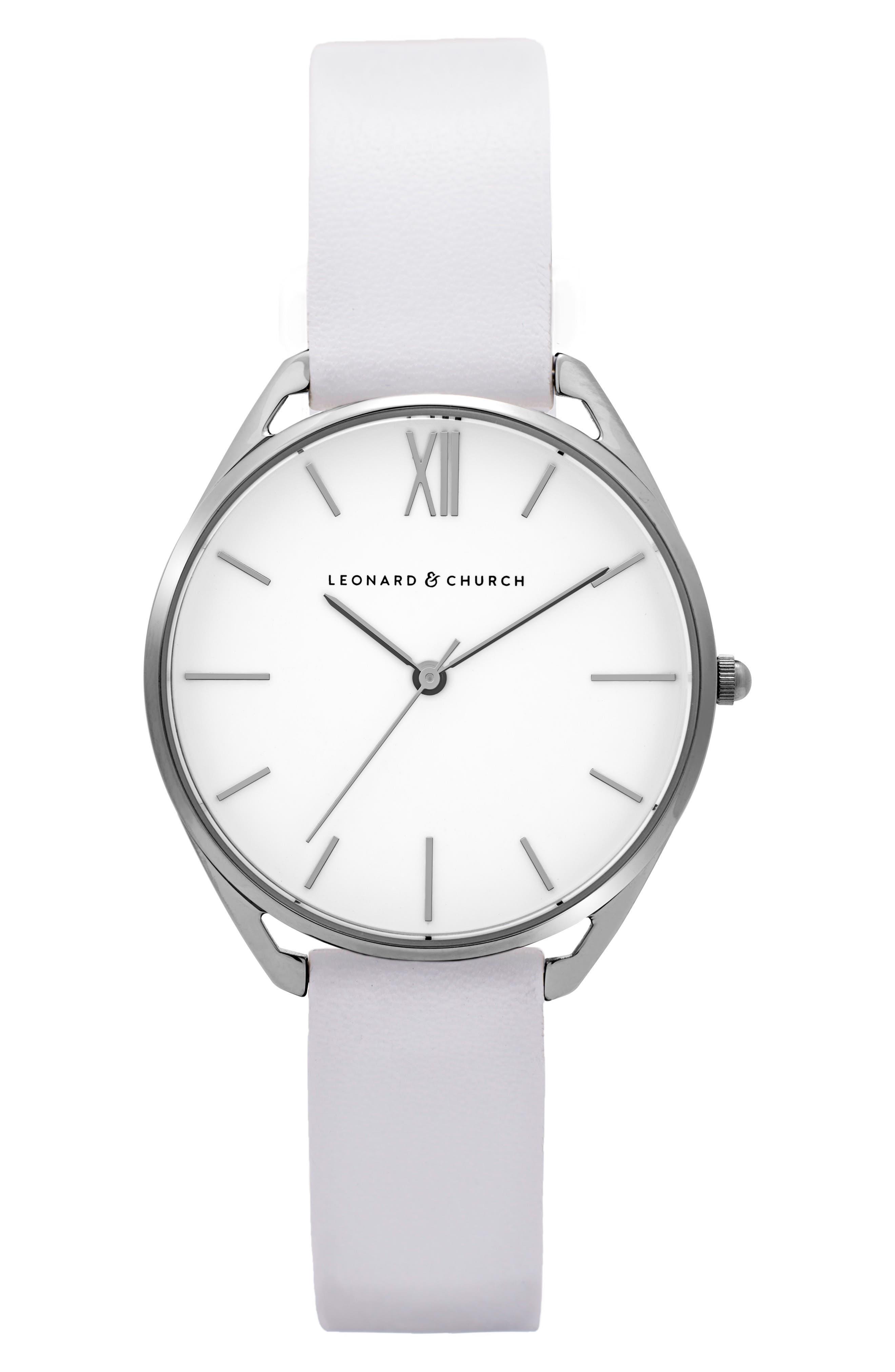 Leonard & Church Chelsea Leather Strap Watch, 34mm,                             Main thumbnail 2, color,