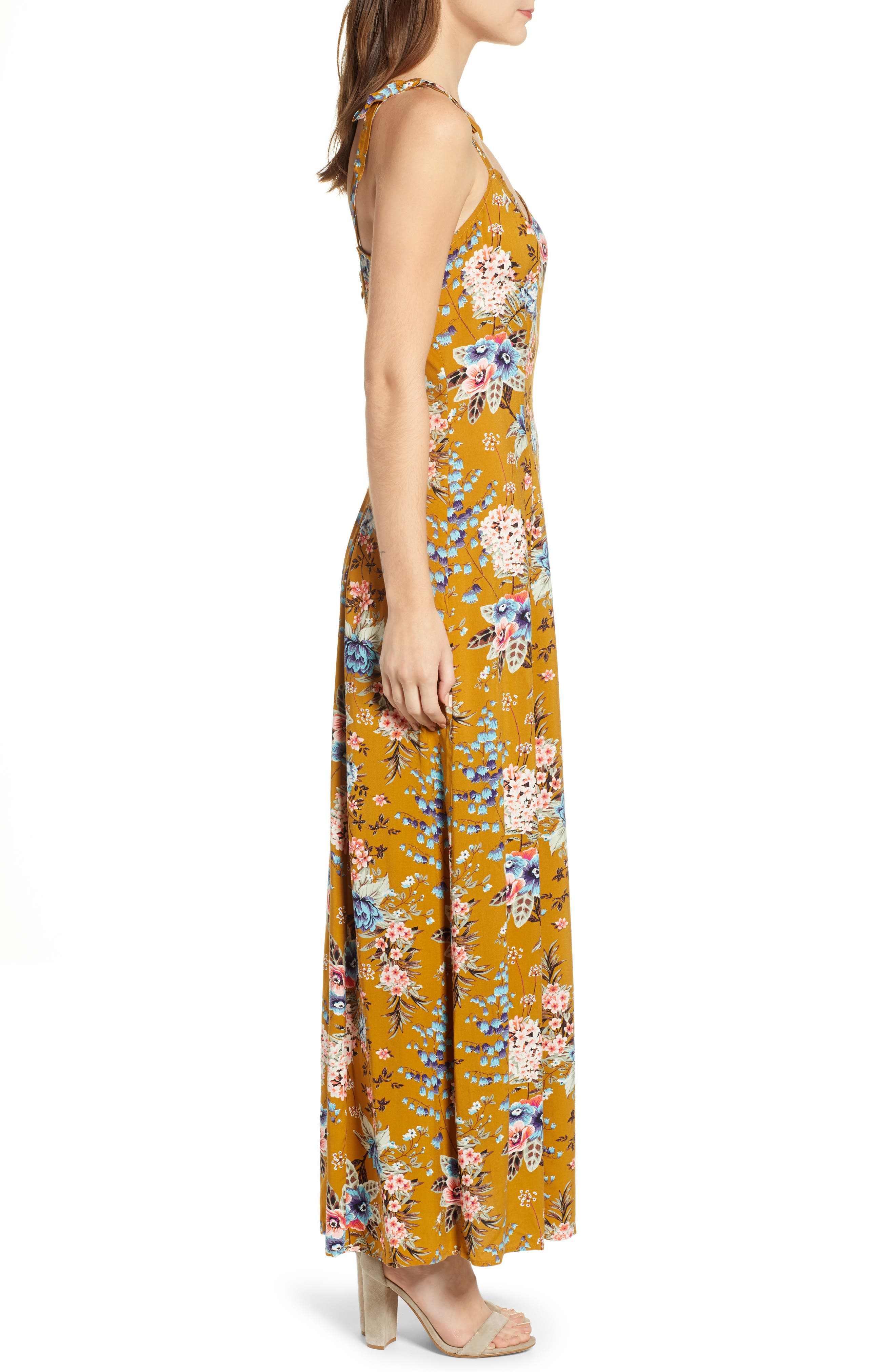 BP.,                             Floral Tie Strap Maxi Dress,                             Alternate thumbnail 3, color,                             BROWN BRONZE KRISTA FLORAL