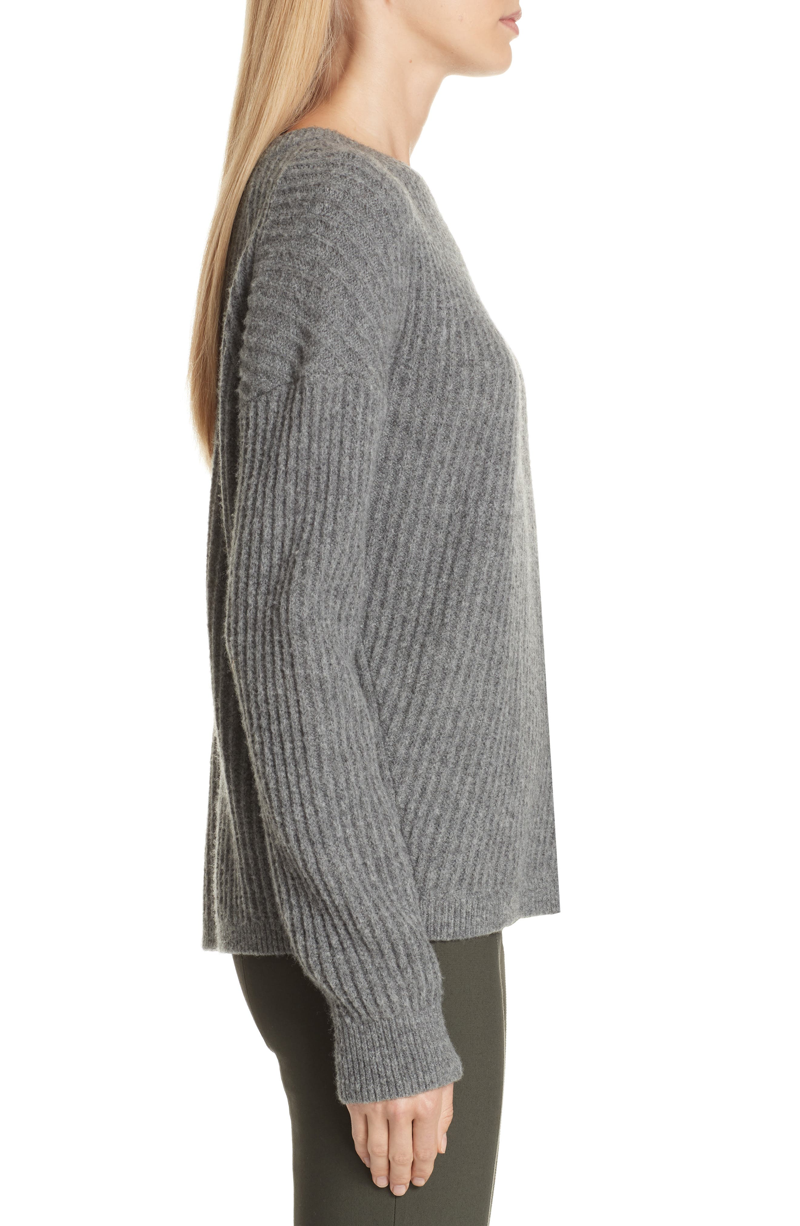 Side Slit Ribbed Sweater,                             Alternate thumbnail 3, color,                             MID GREY