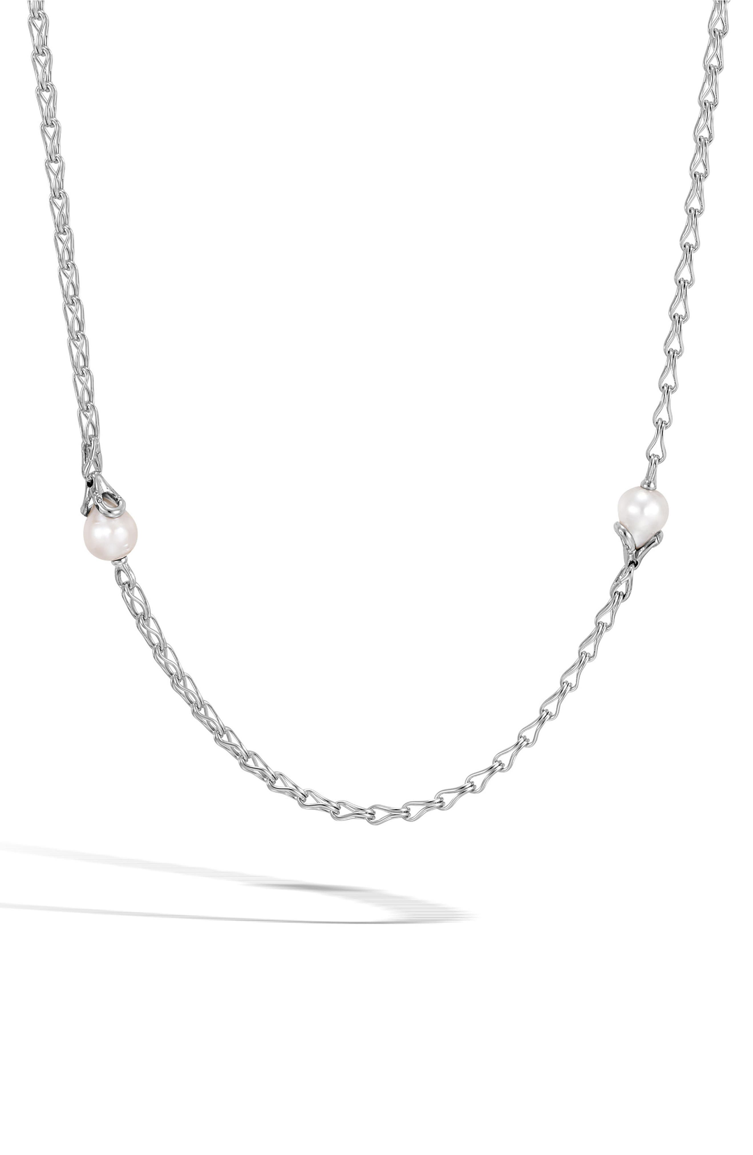 Bamboo Pearl Station Necklace,                         Main,                         color, SILVER/ PEARL