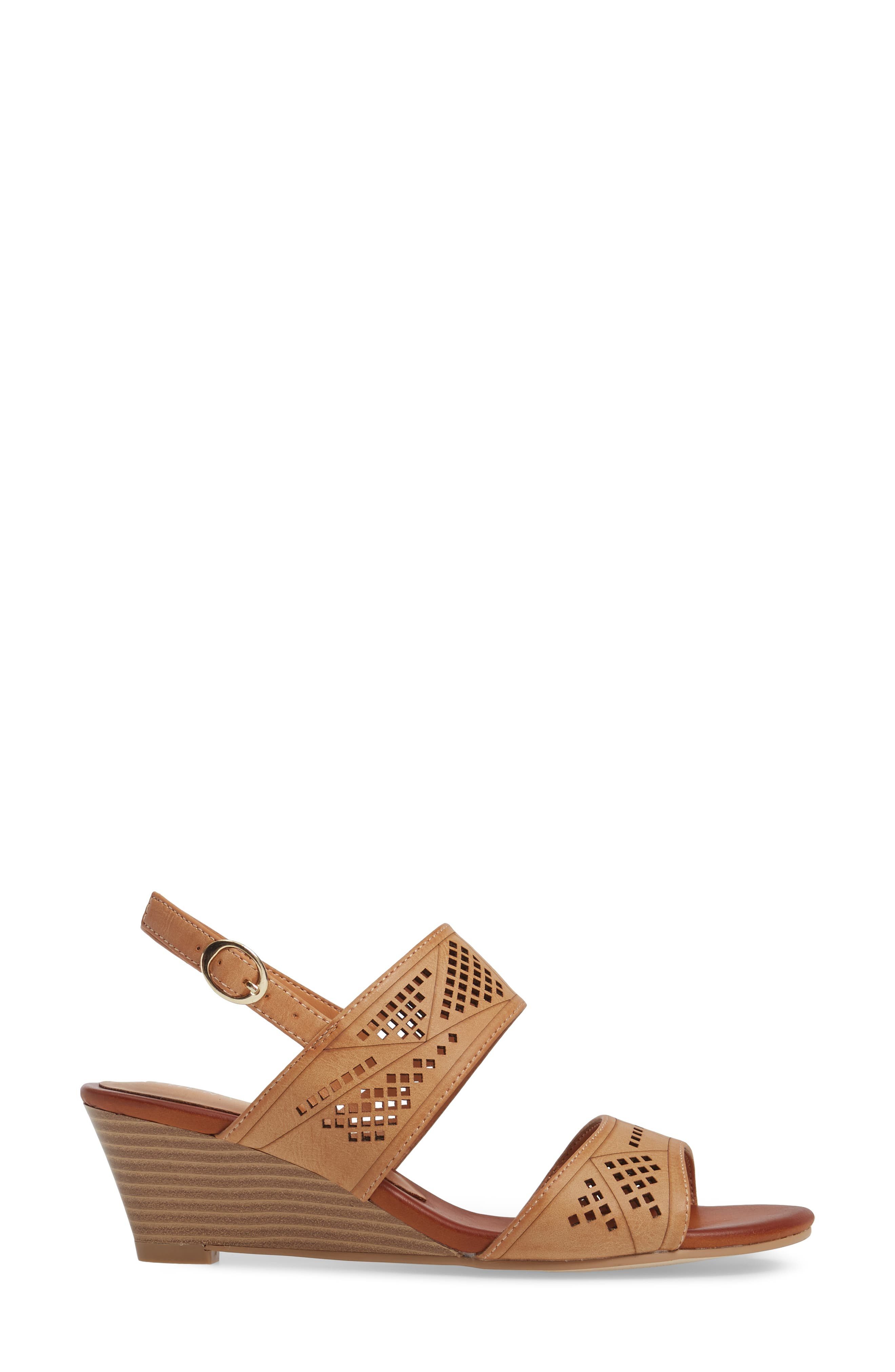 Sparce Perforated Wedge Sandal,                             Alternate thumbnail 6, color,