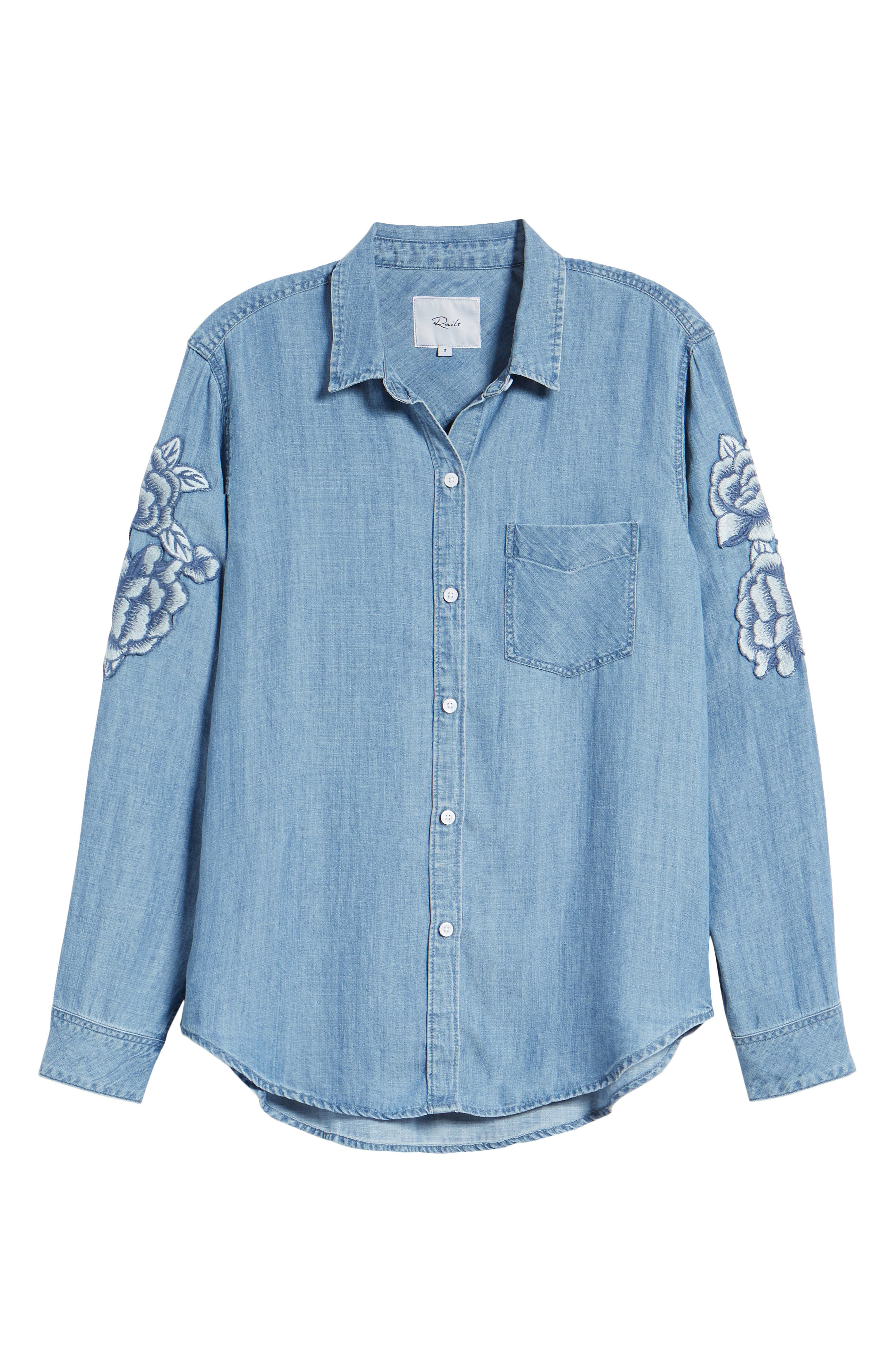 RAILS,                             Ingrid Embroidered Chambray Shirt,                             Alternate thumbnail 7, color,                             493