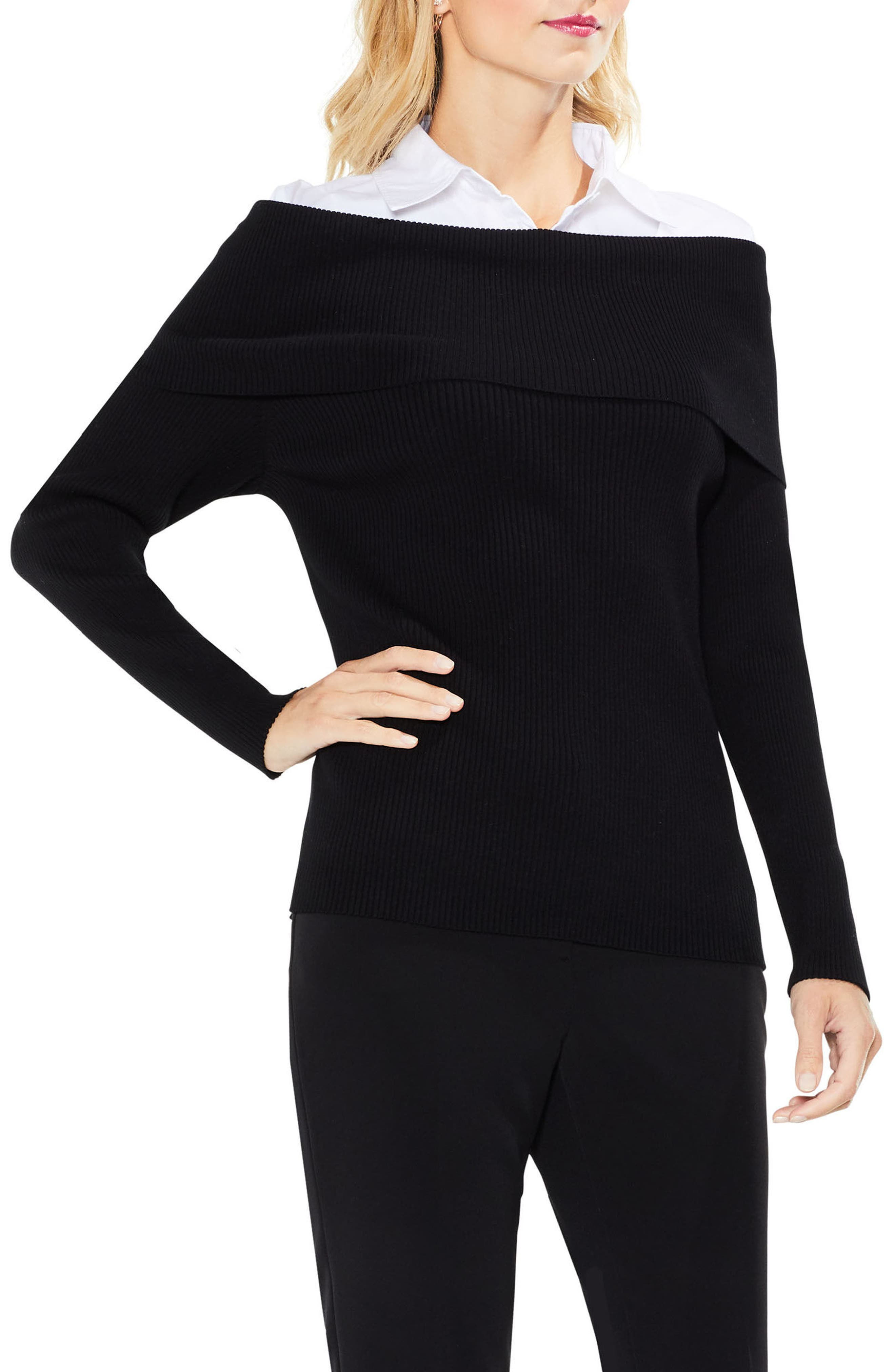Off the Shoulder Mix Media Sweater,                         Main,                         color, 006