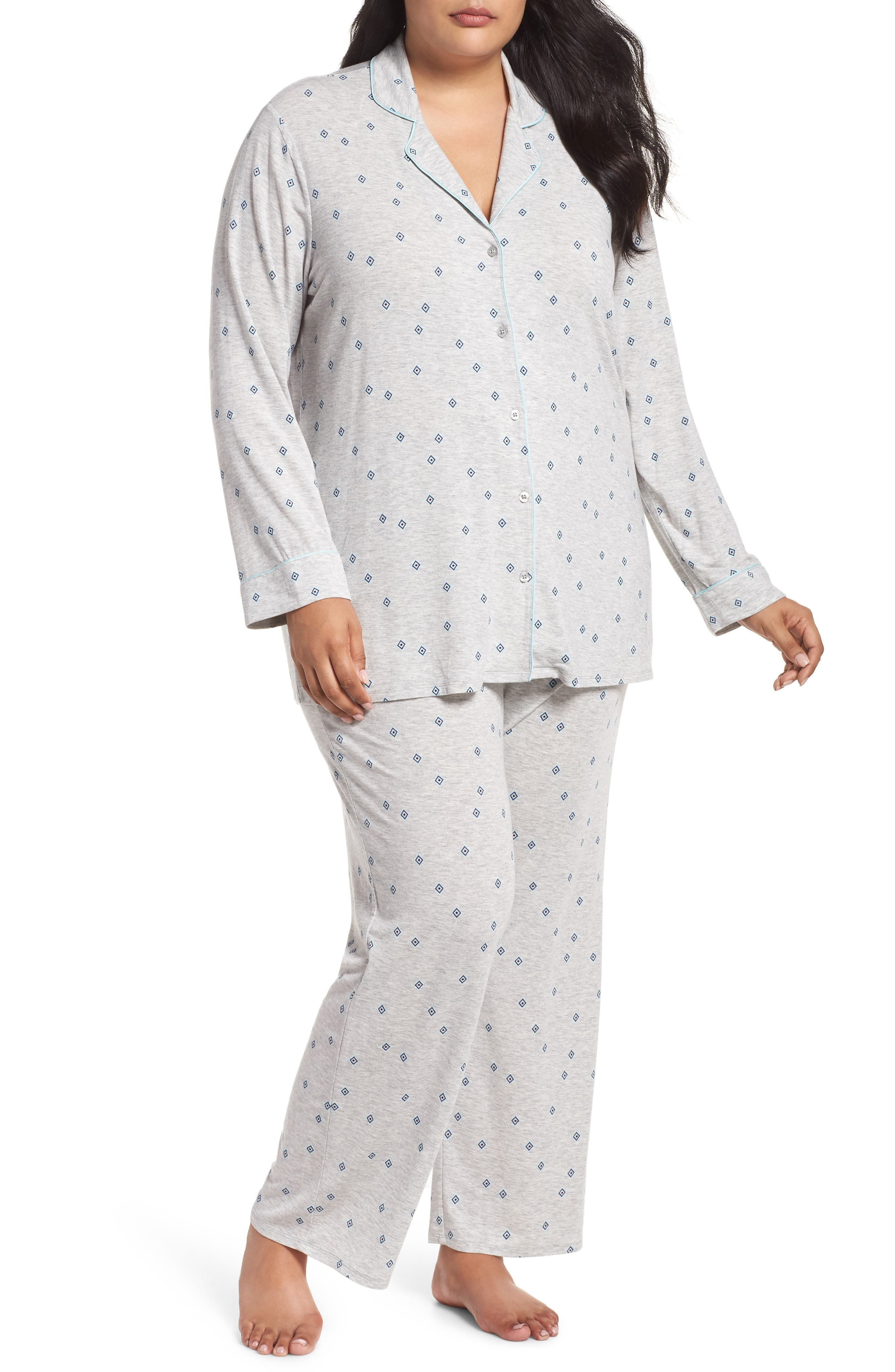 'Moonlight' Pajamas,                             Main thumbnail 1, color,                             GREY PEARL HTR FLIRTY FOULARD