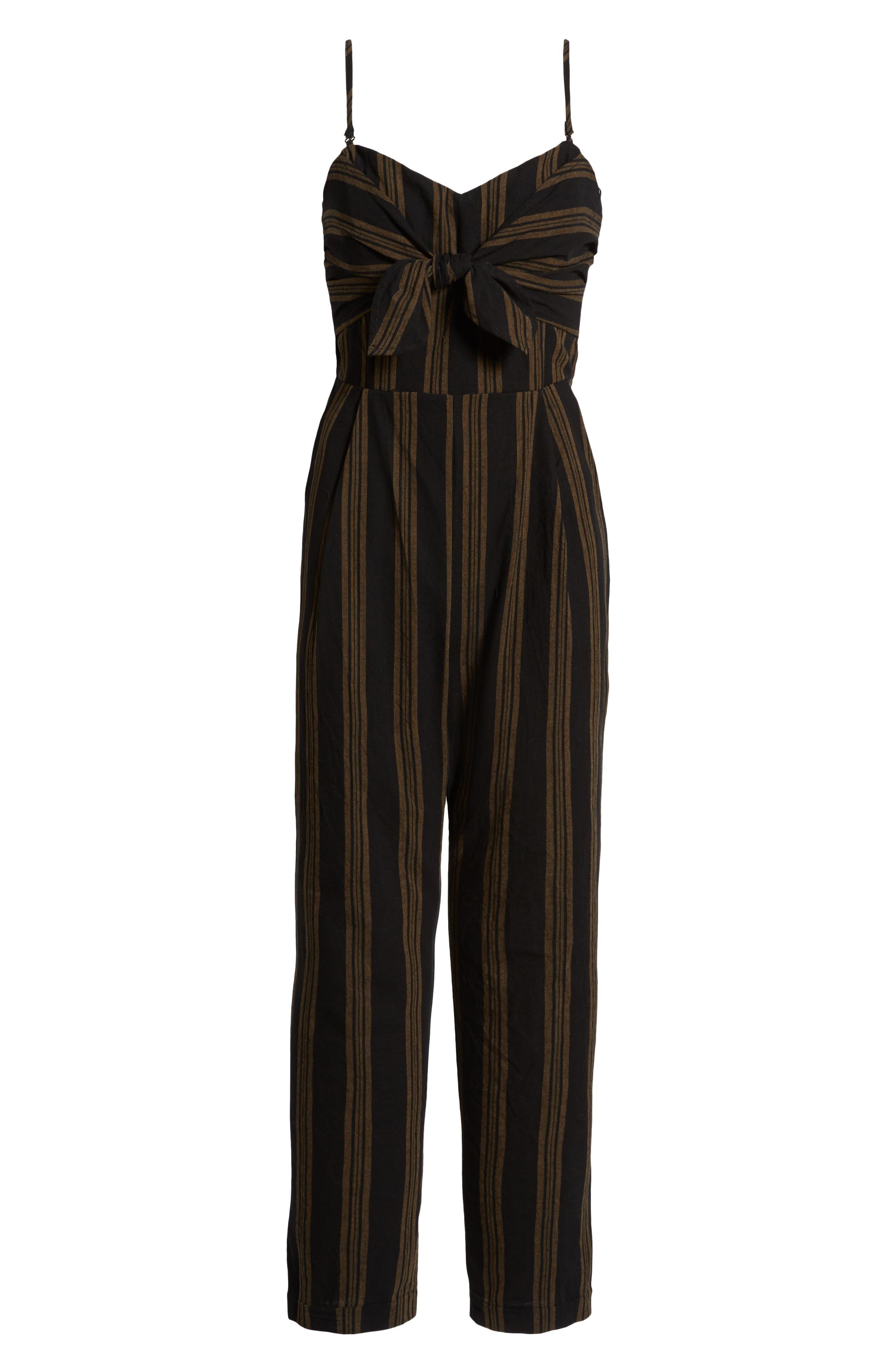 Knot Front Stripe Jumpsuit,                             Alternate thumbnail 7, color,                             001