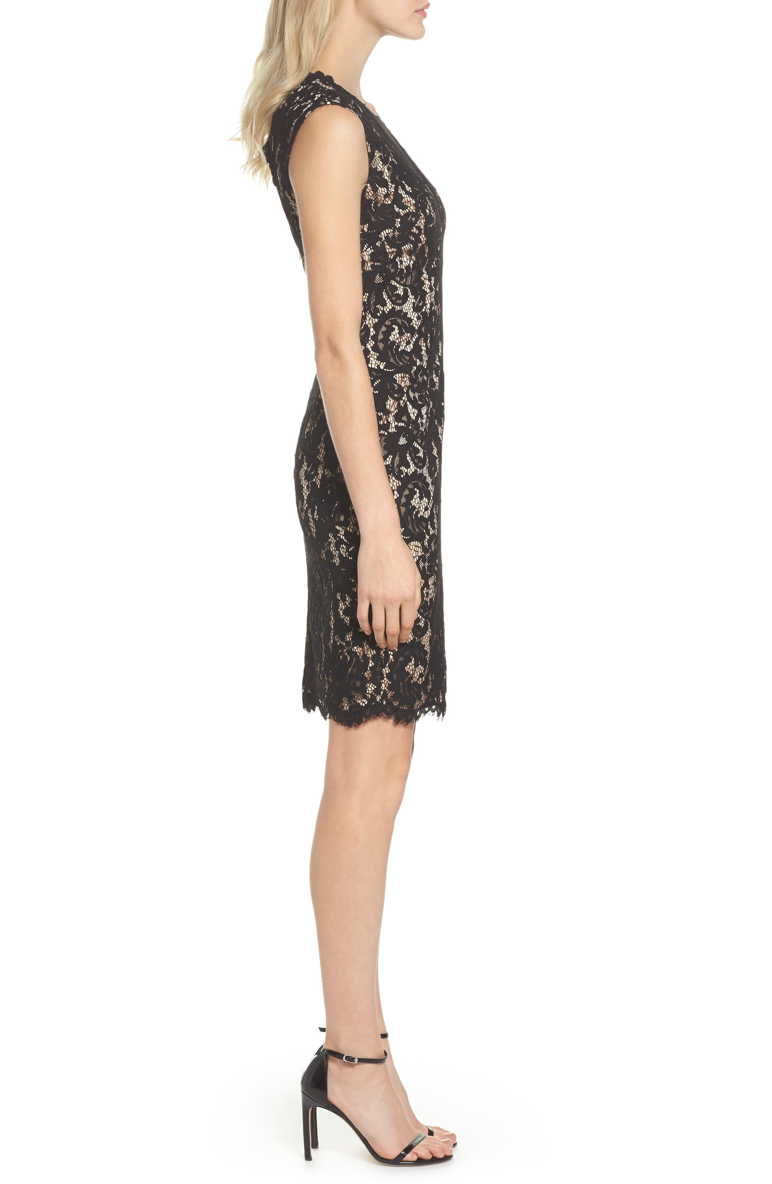Illusion Lace Sheath Dress,                             Alternate thumbnail 3, color,                             015