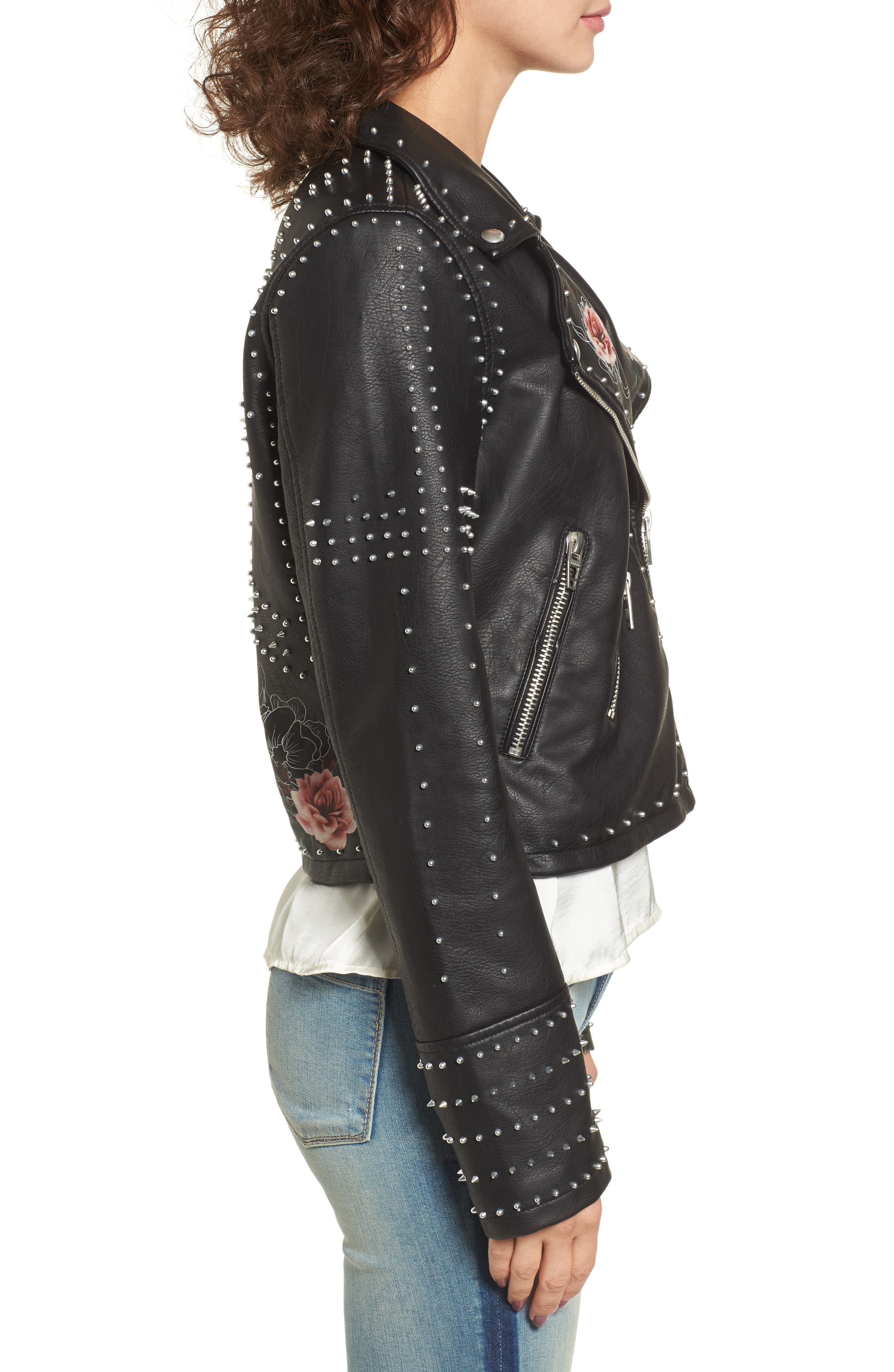 Printed Studded Moto Jacket,                             Alternate thumbnail 5, color,