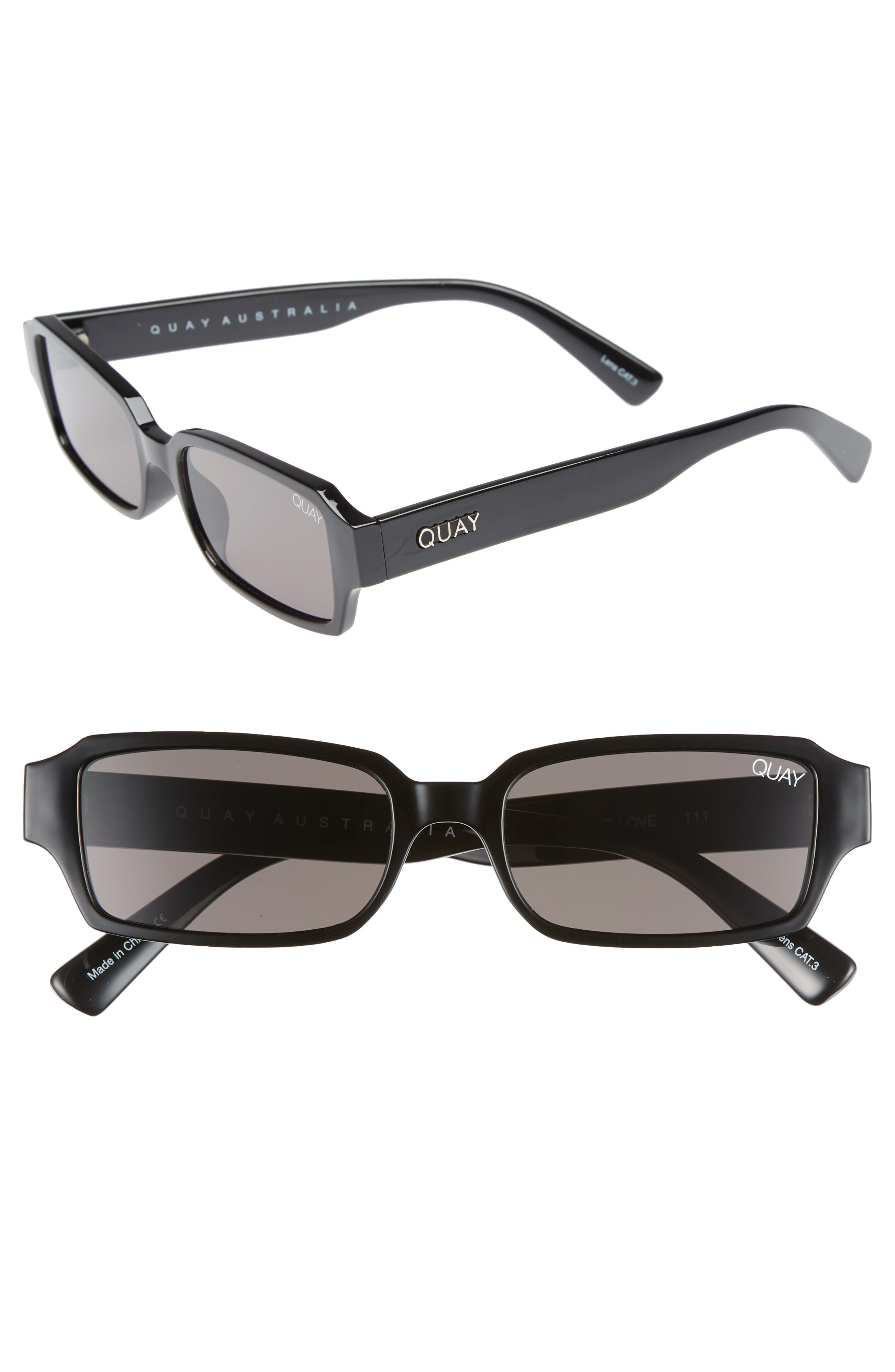 d89b7e94d3c Quay Australia Strange Love 5m Rectangle Sunglasses - Black  Smoke
