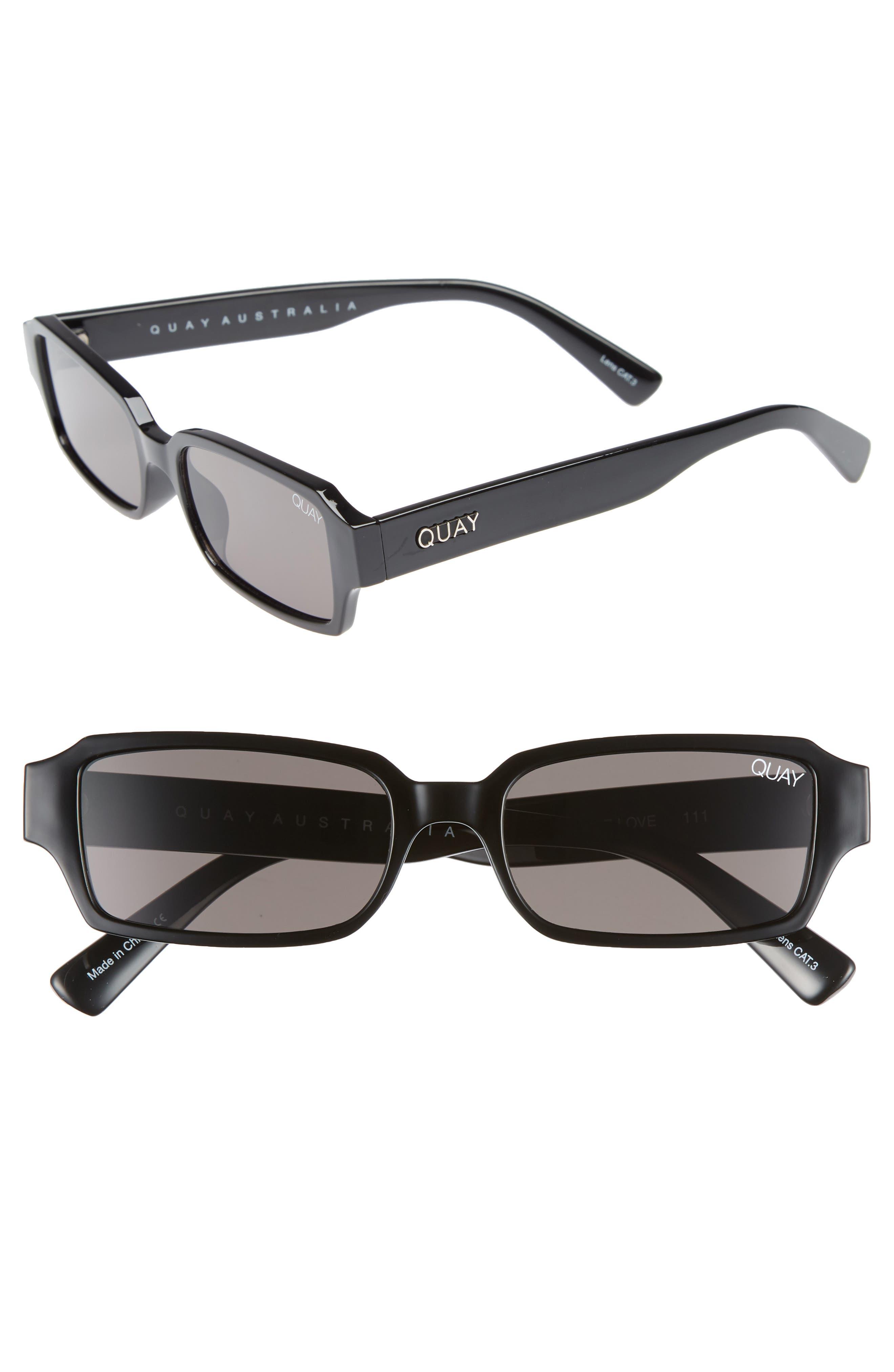 Strange Love 53mm Rectangle Sunglasses,                         Main,                         color, BLACK/ SMOKE
