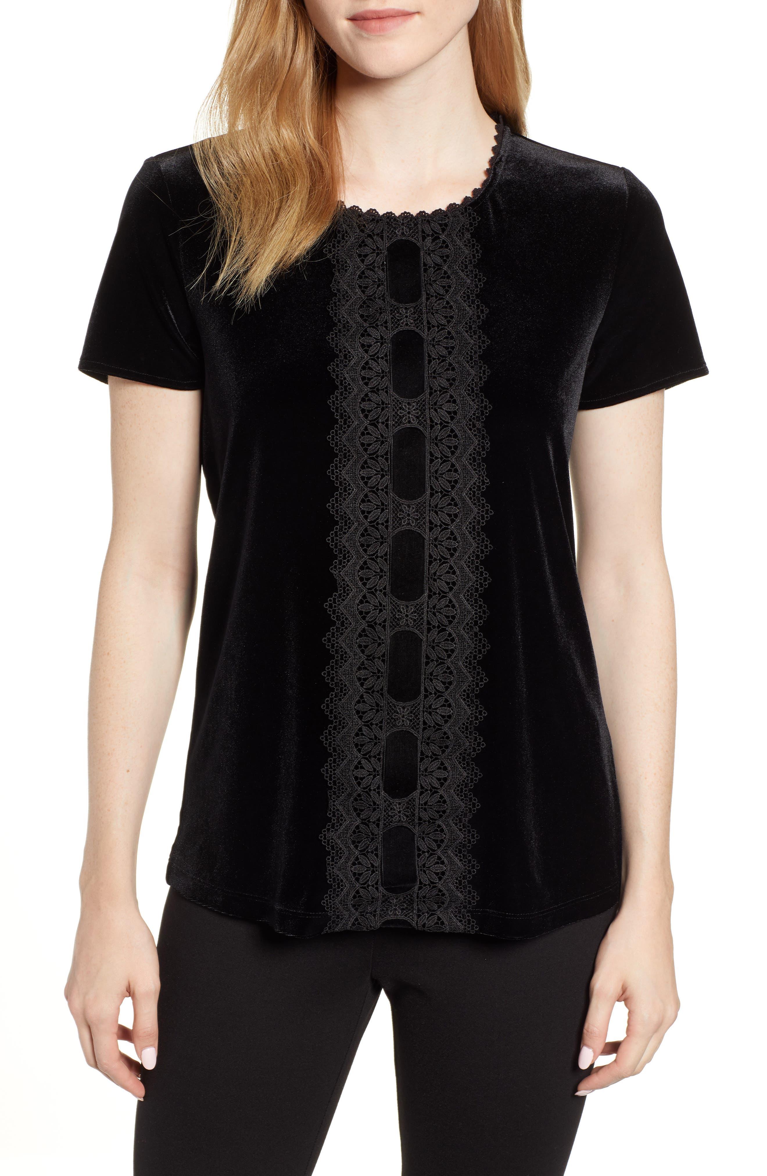 Karl Lagerfeld Lace Panel Velvet Tee,                         Main,                         color, BLACK