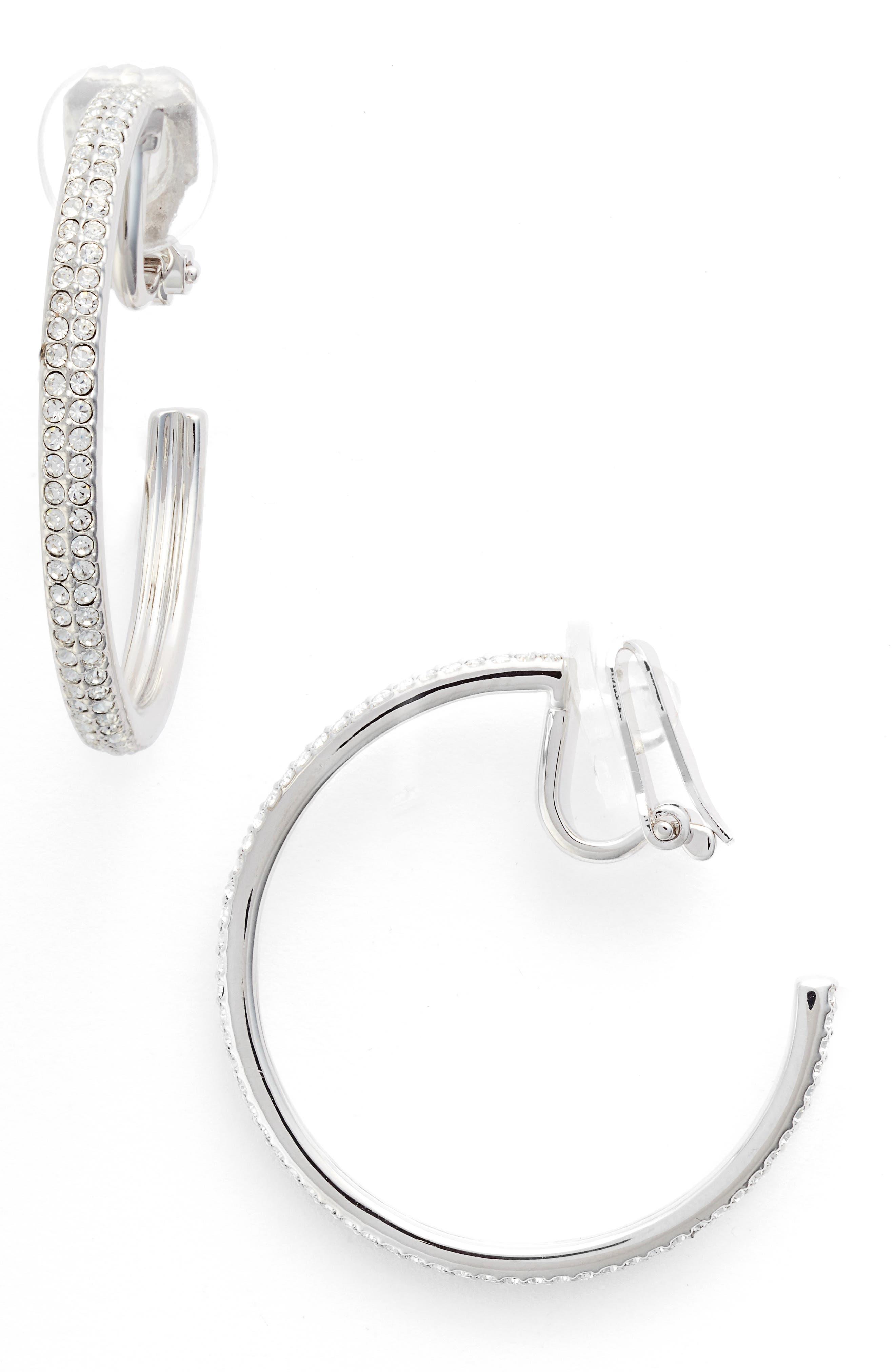 Clip-On Hoop Earrings,                         Main,                         color, SILVER