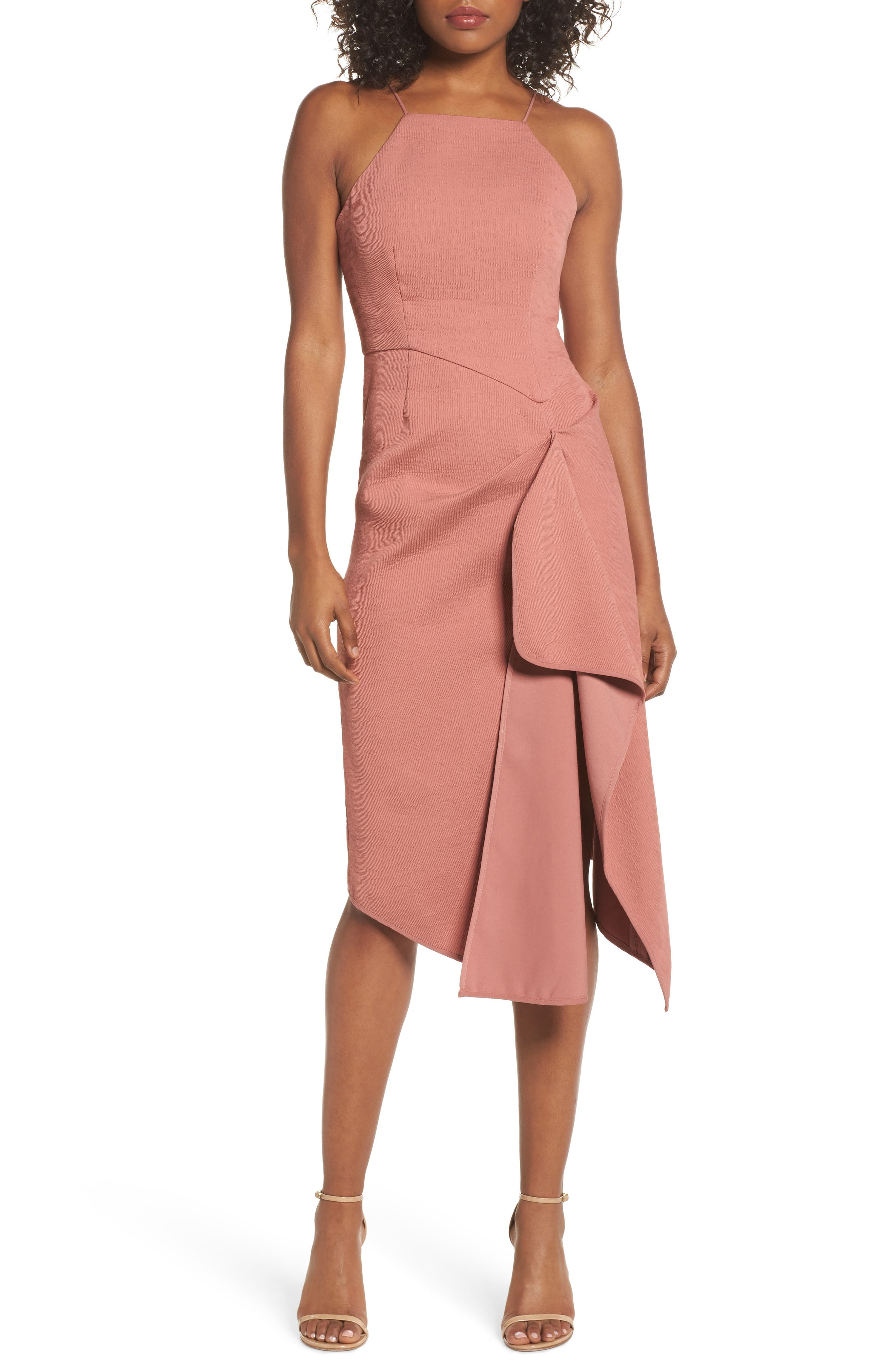 Fluidity Draped Midi Dress,                             Main thumbnail 1, color,