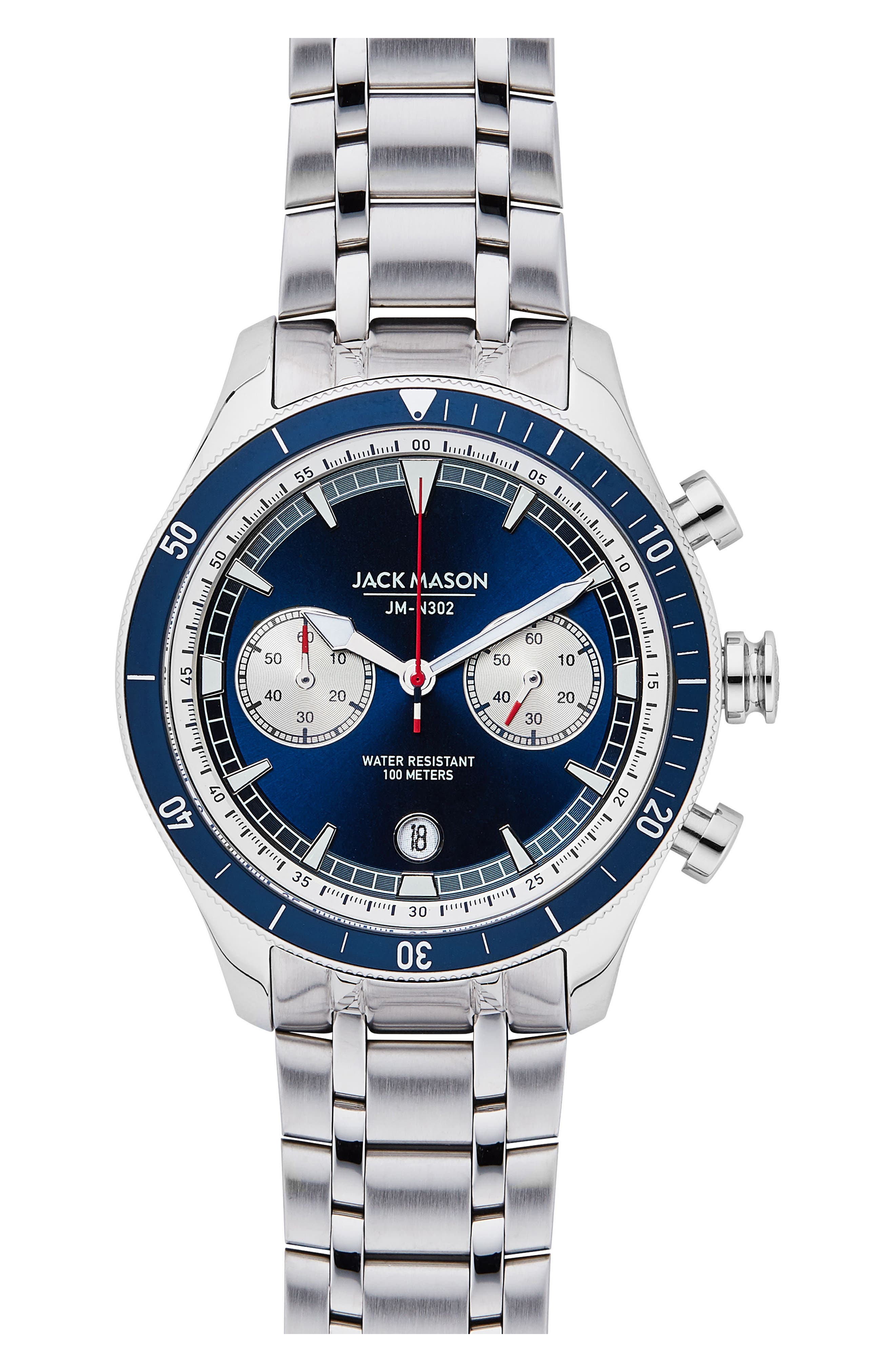 Nautical Chronograph Bracelet Watch, 42mm,                             Main thumbnail 1, color,                             NAVY/ STAINLESS STEEL