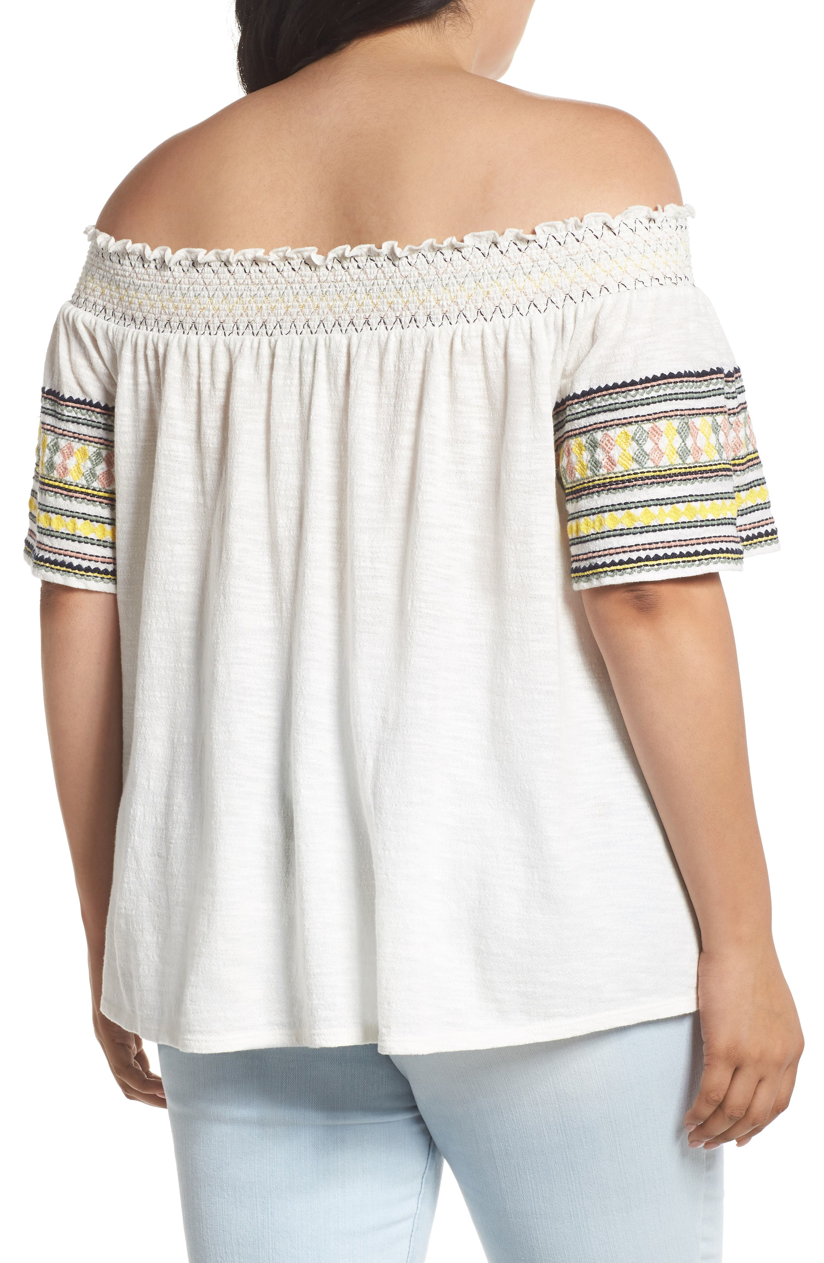 Embroidered Off the Shoulder Top,                             Alternate thumbnail 2, color,                             900