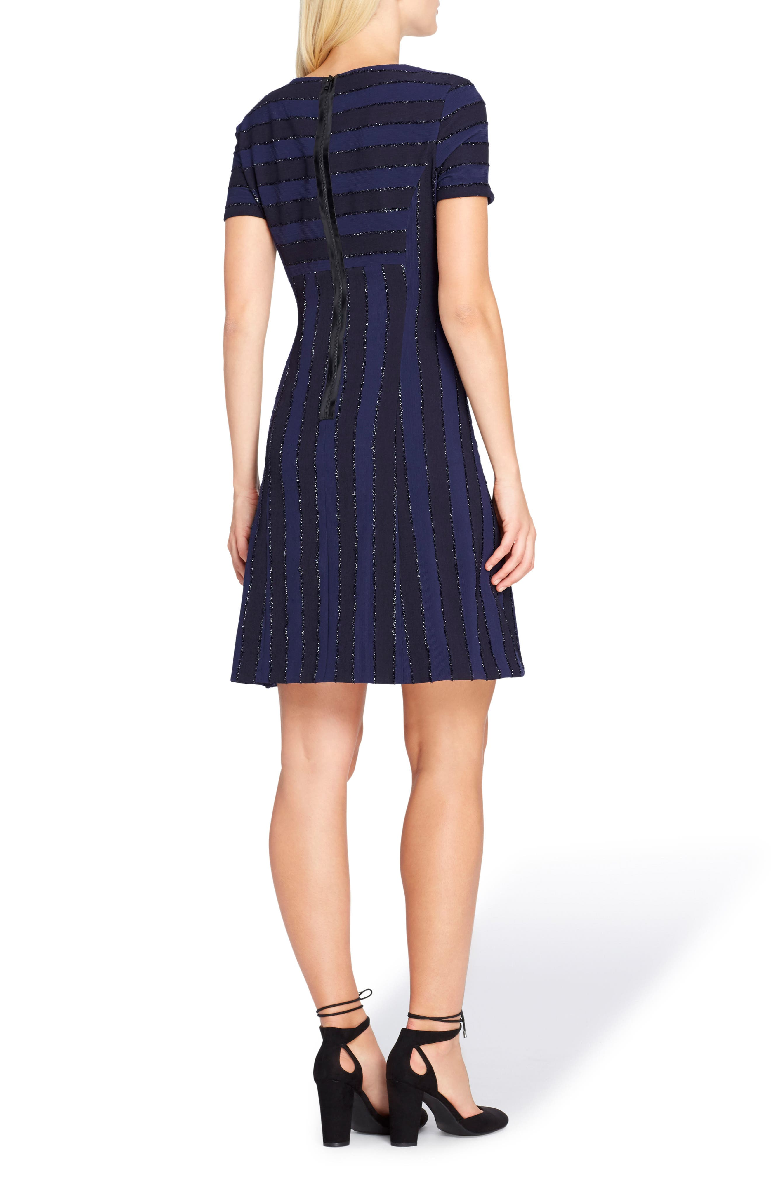 Metallic Stripe Fit & Flare Dress,                             Alternate thumbnail 2, color,                             412